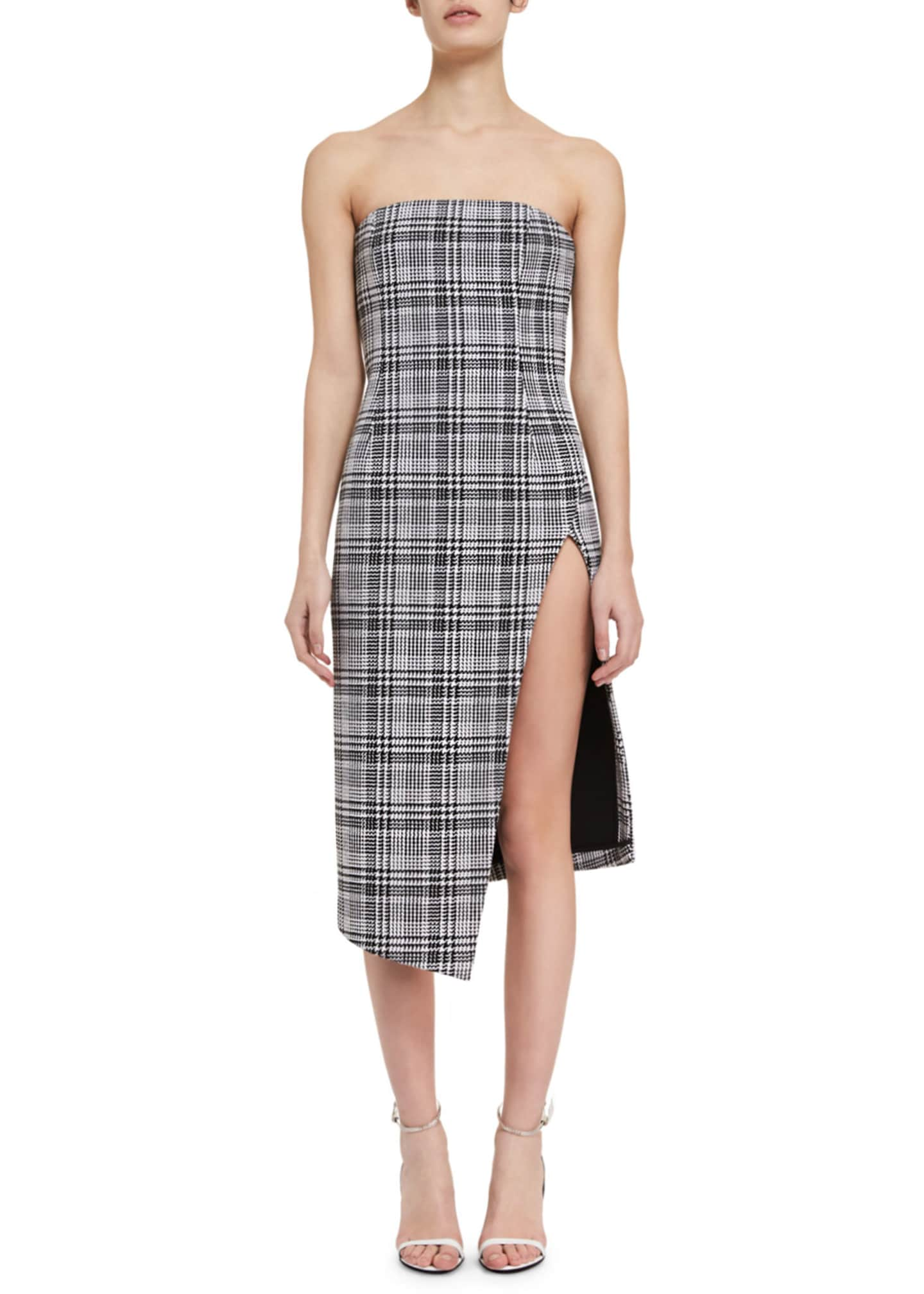 Off-White Strapless Plaid Bustier Dress