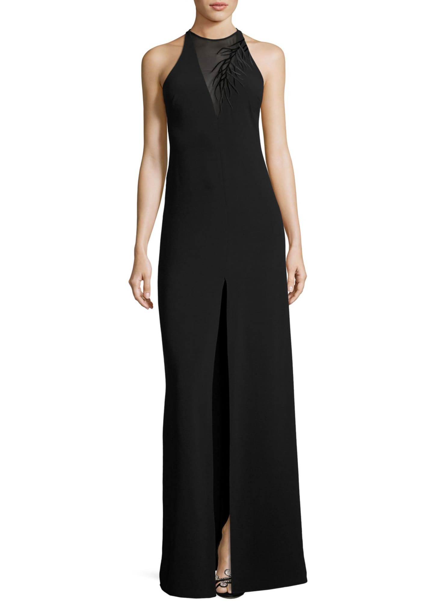 Halston Heritage Sleeveless Crepe Column Gown w/ Embroidery