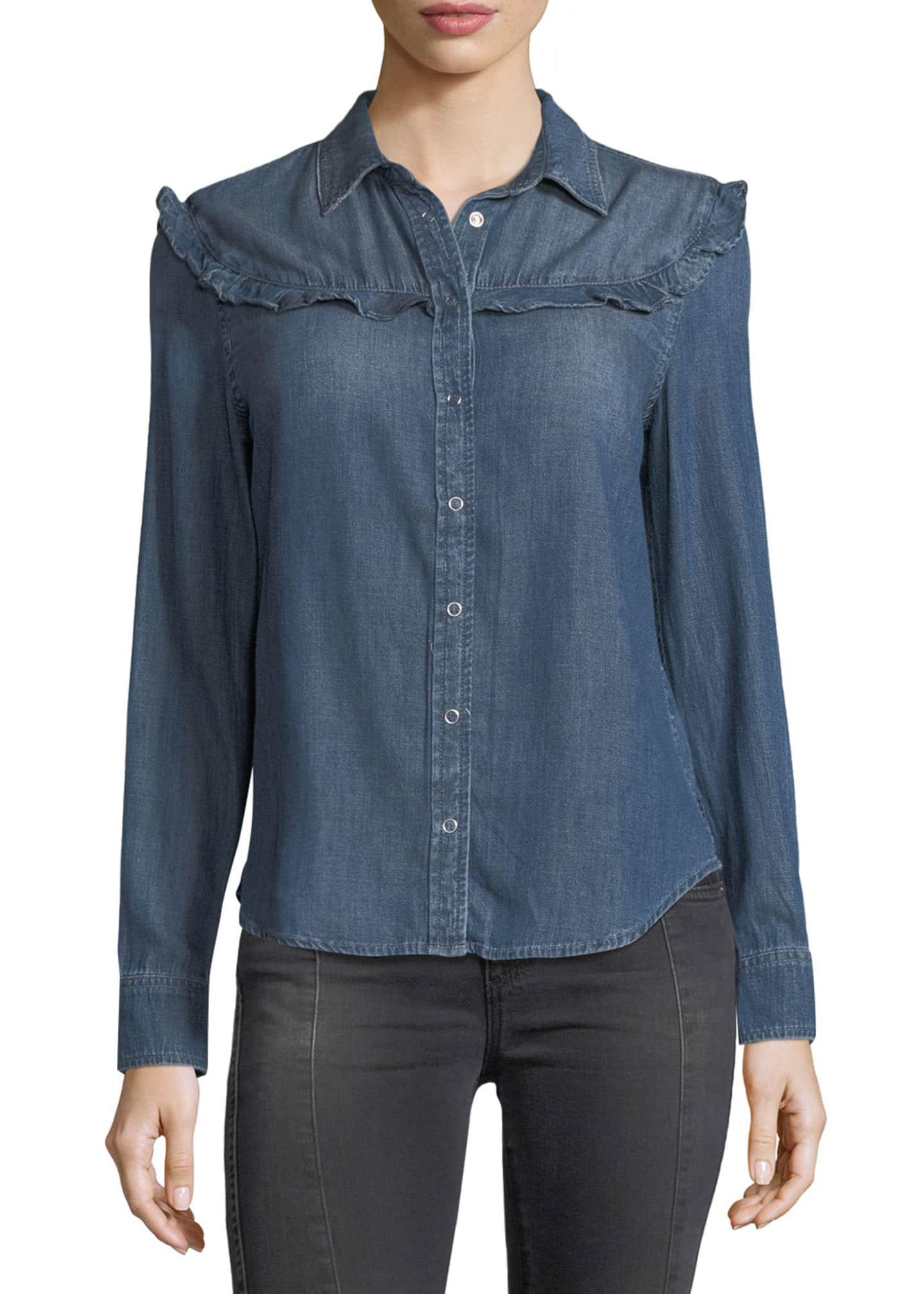 AG Adriano Goldschmied Joanna Spread-Collar Snap Denim Shirt
