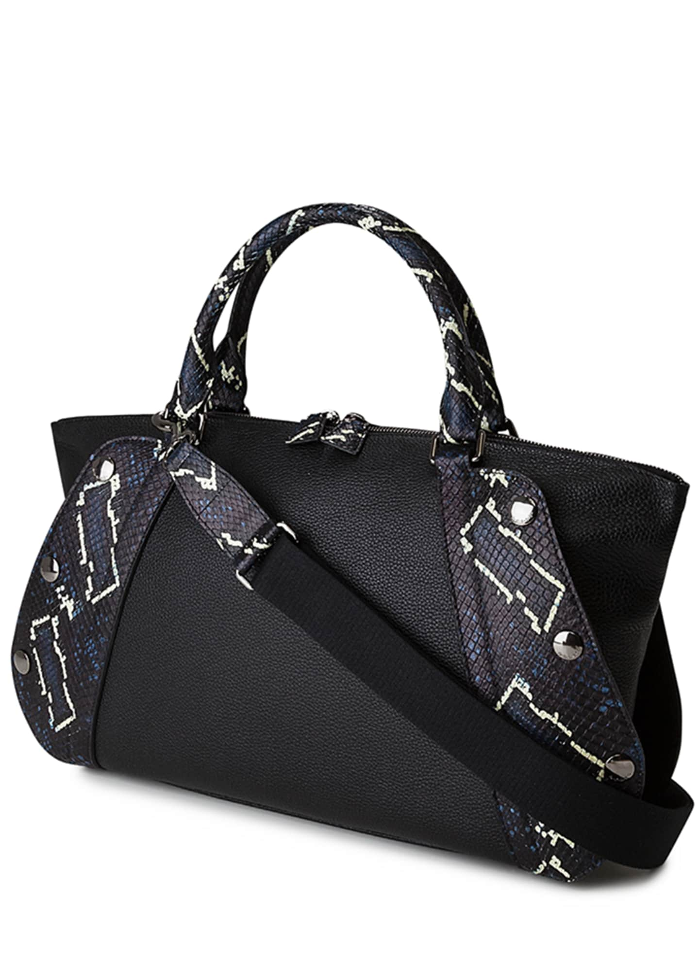 Image 3 of 4: Aimee Small Convertible Leather/Python Satchel Bag