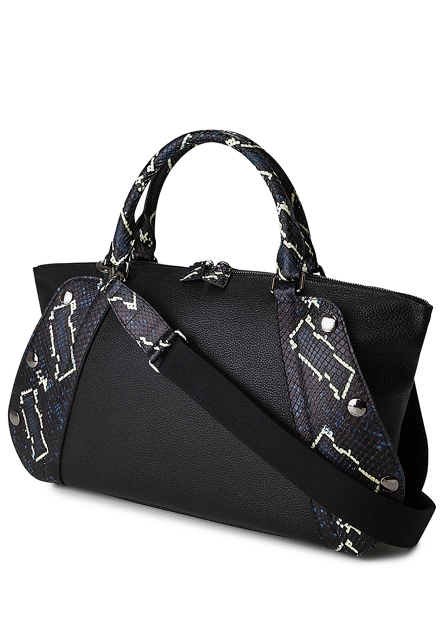 Image 4 of 4: Aimee Small Convertible Leather/Python Satchel Bag
