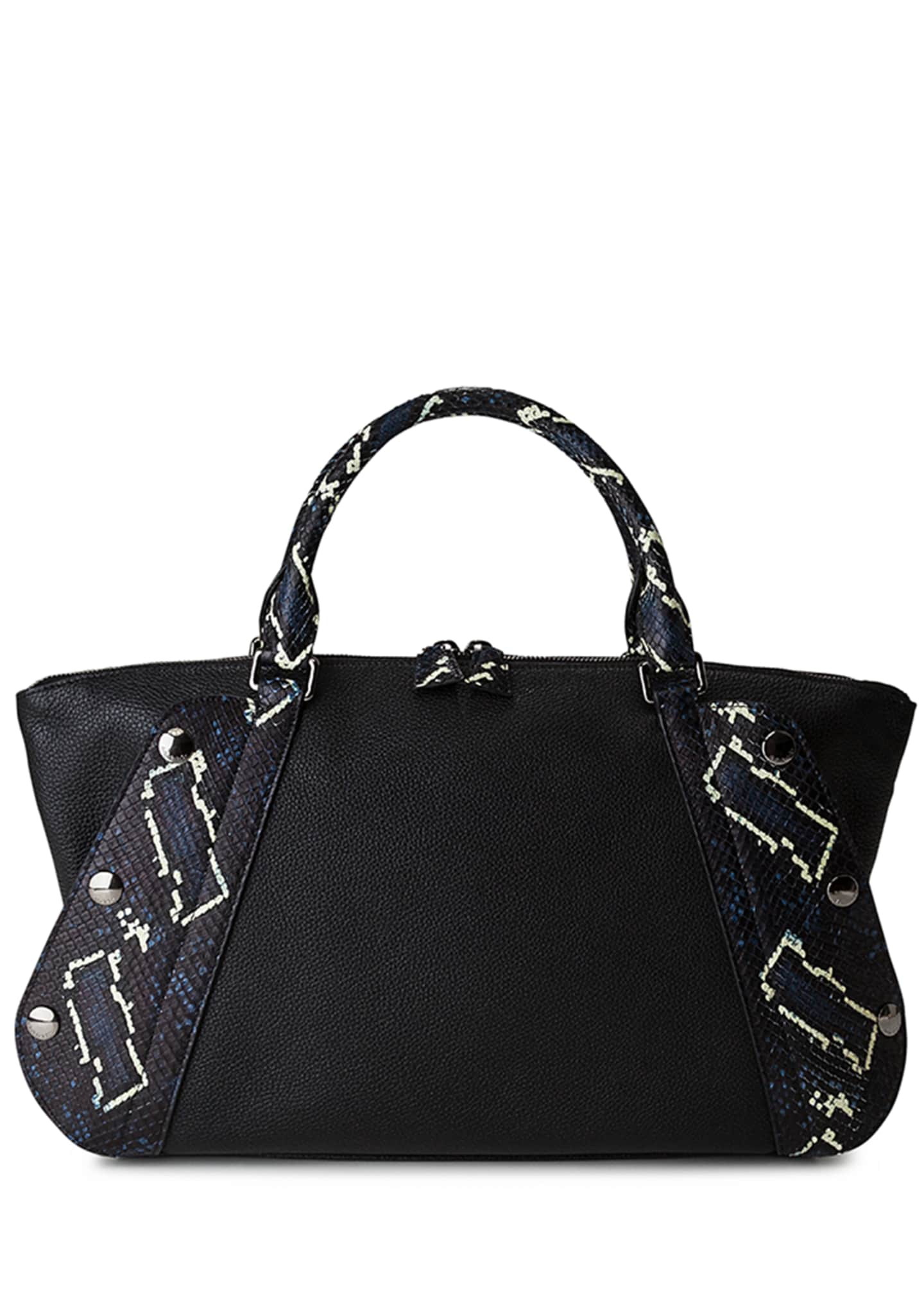 Image 1 of 4: Aimee Small Convertible Leather/Python Satchel Bag