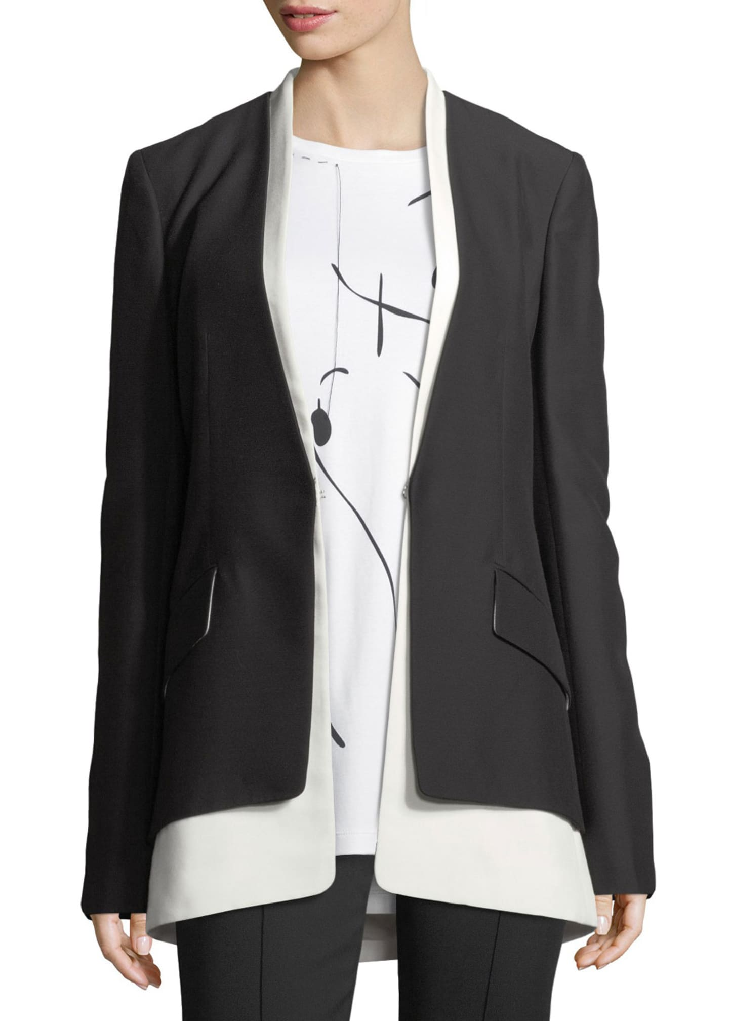 Derek Lam Layered Two-Tone Cady Blazer