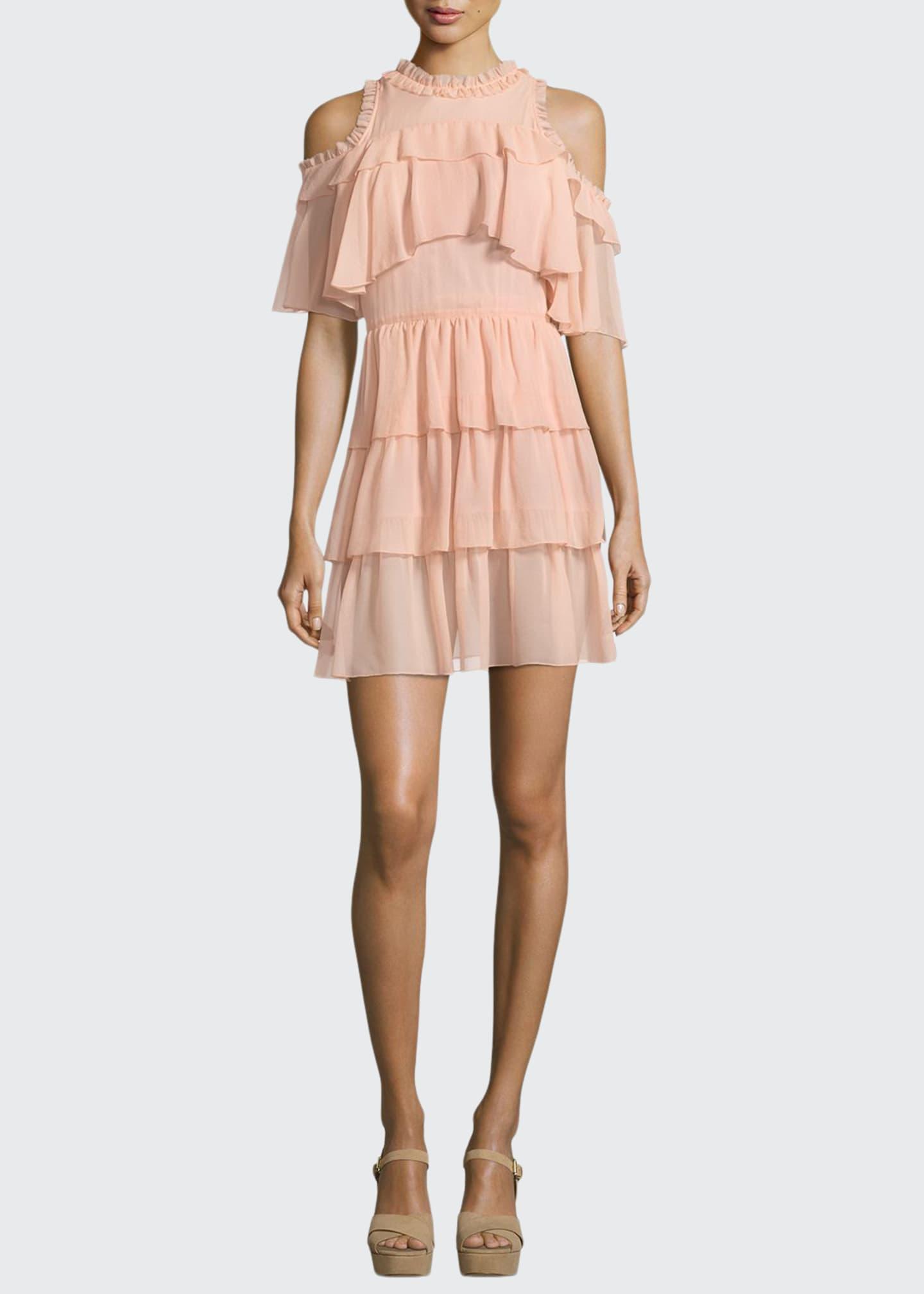 Alice + Olivia Nichola Cold-Shoulder Ruffle Party Dress
