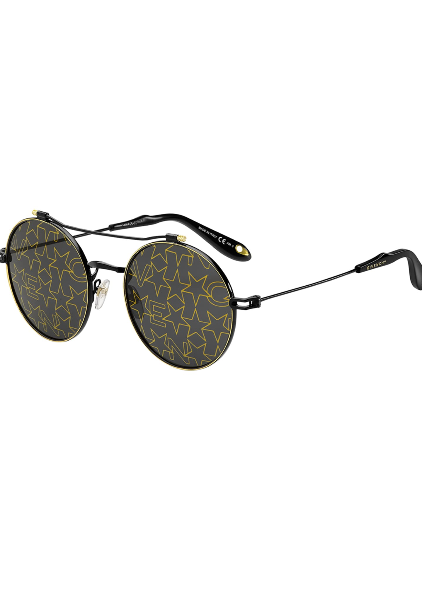 Givenchy Logo & Star Printed Round Sunglasses
