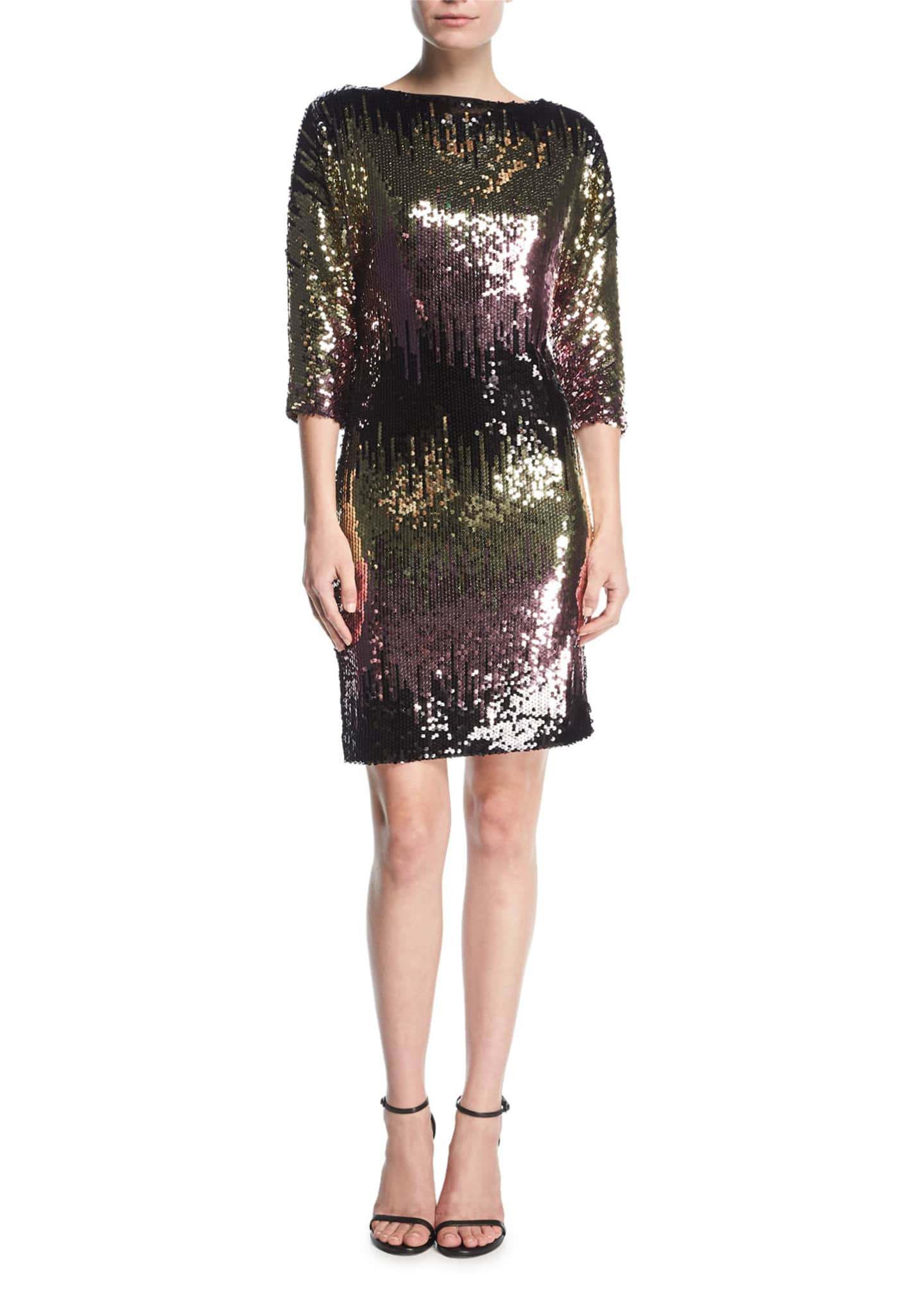 Milly Kimberly Ombre Sequin Cowl-Back Mini Cocktail Dress