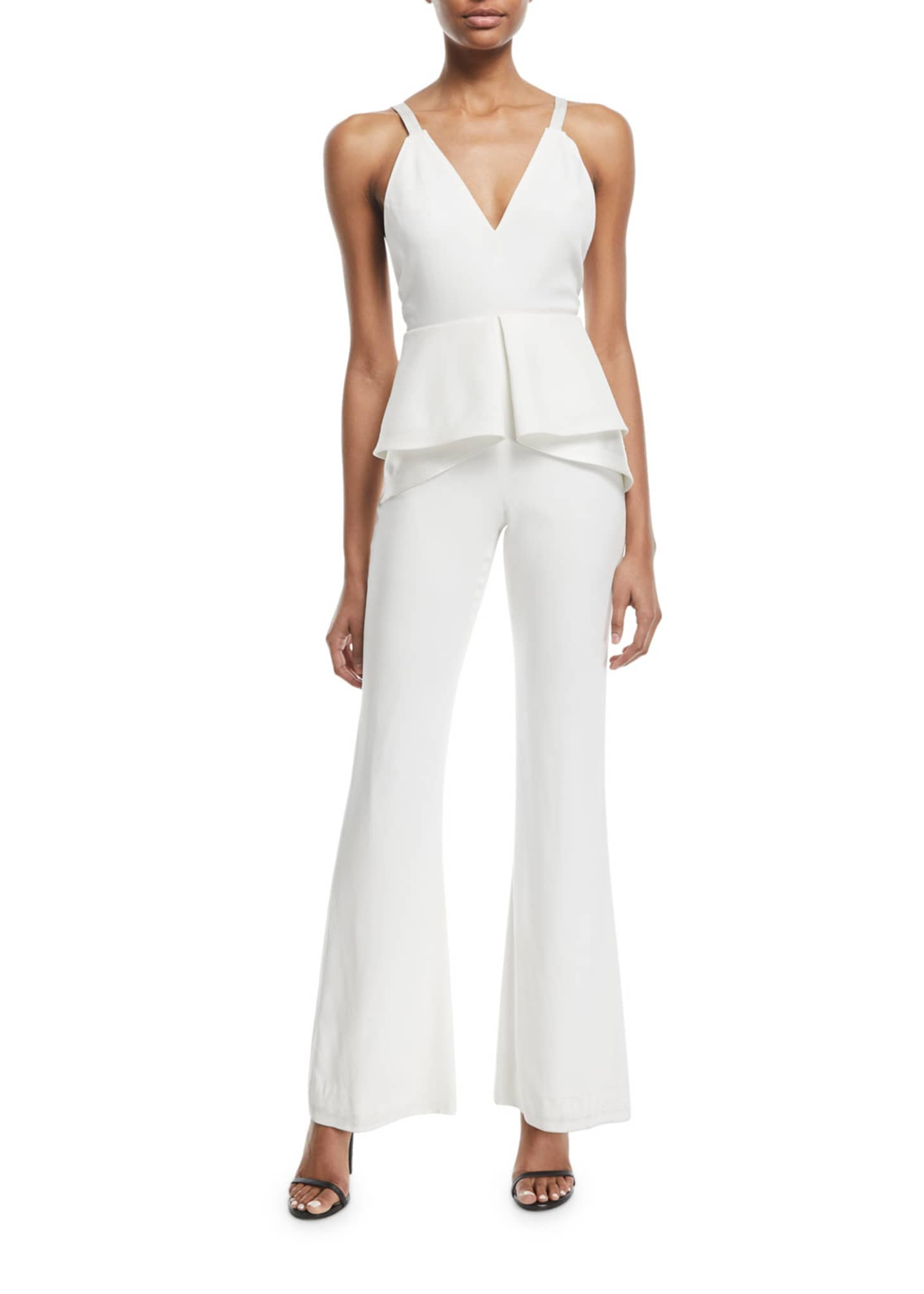 Jonathan Simkhai V-Neck Sleeveless Peplum Flared-Leg Sateen