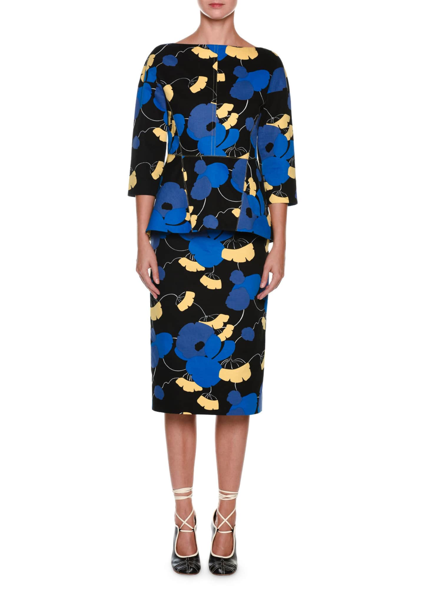 Marni 3/4-Sleeve Floral Peplum Dress