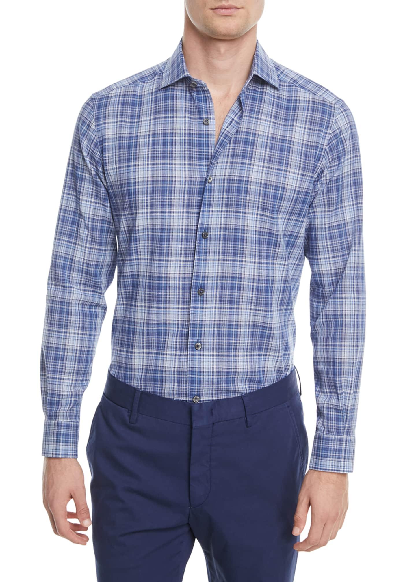 Ermenegildo Zegna Linen-Blend Plaid Sport Shirt