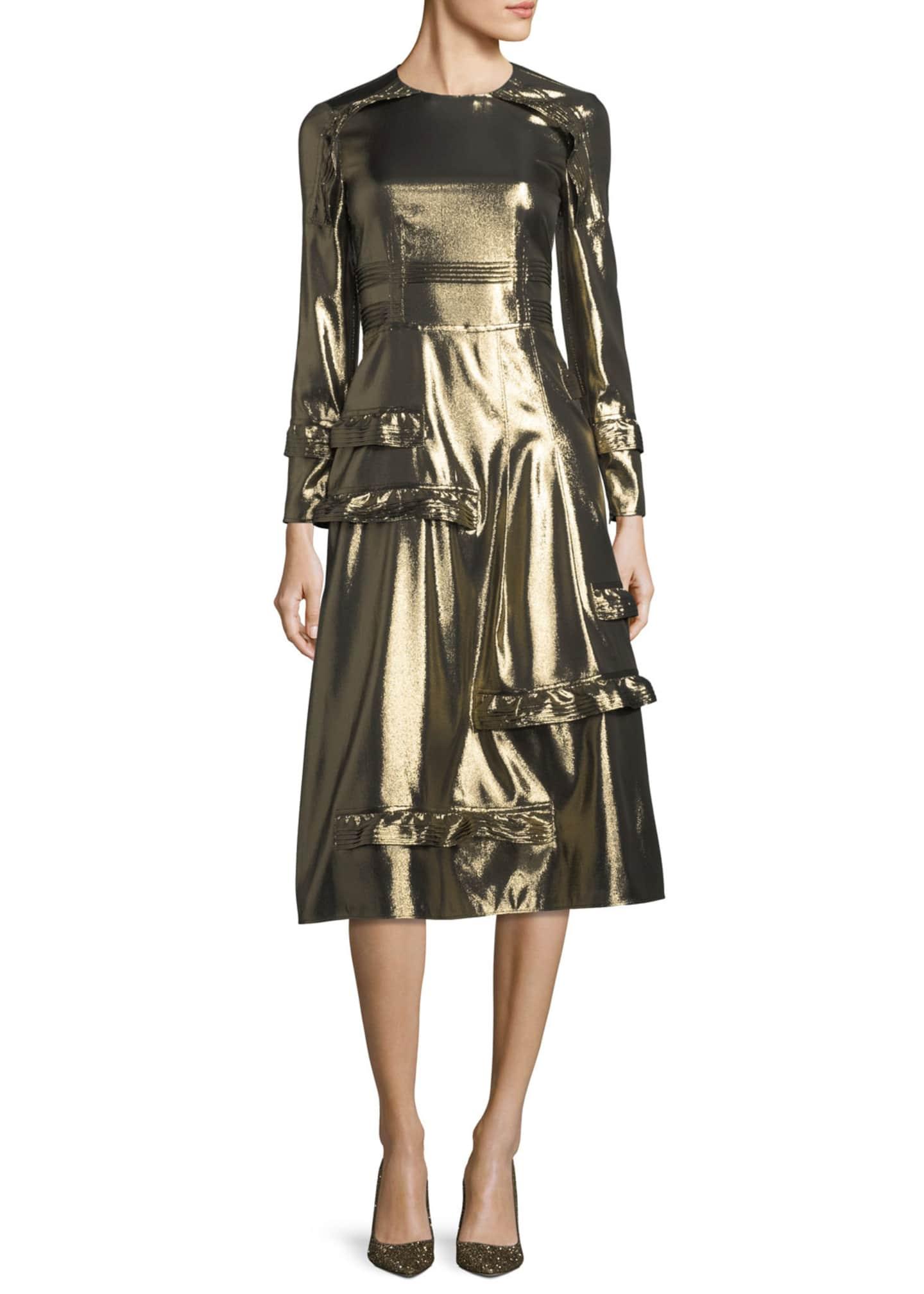 Burberry Long-Sleeve Metallic Ruffle-Trim Dress