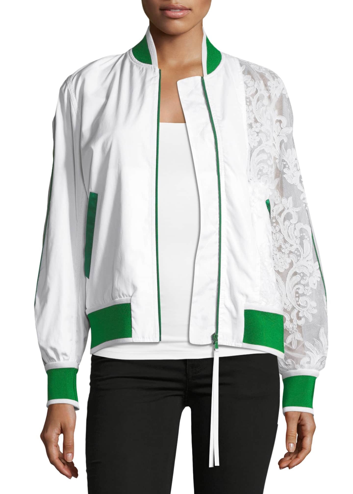 No. 21 Zip-Front Sports Bomber Jacket with Lace