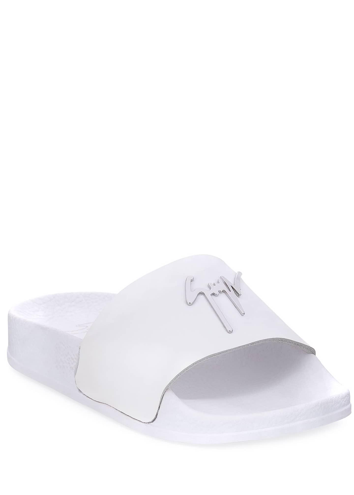 Giuseppe Zanotti Birel Leather Slide Sandal, White, Youth