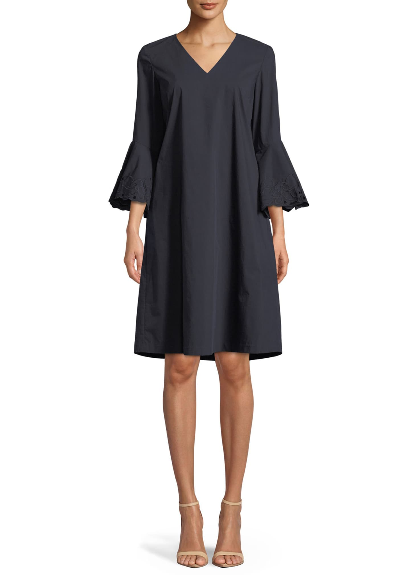 Lafayette 148 New York Holly Expedition-Cloth Ruffle-Cuff Shift
