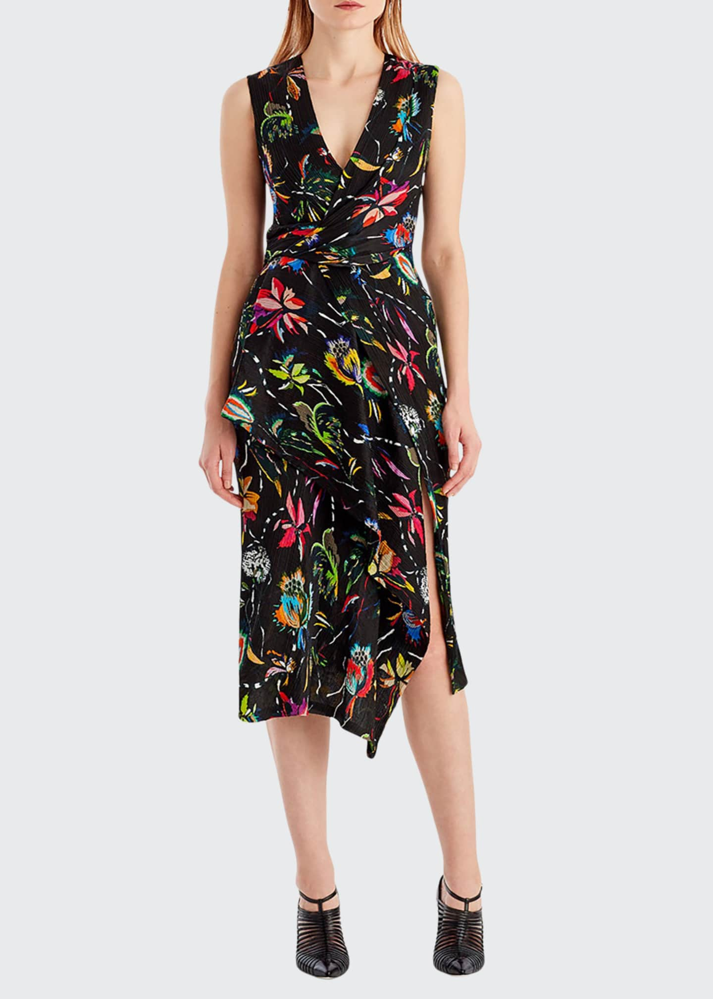 Image 1 of 2: Sleeveless Surplice Floral-Print Crinkle Silk Day Dress