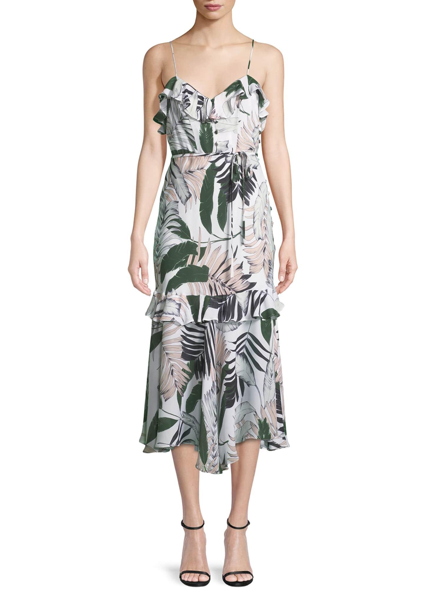 Milly Tropic-Print Sleeveless Petal Midi Dress