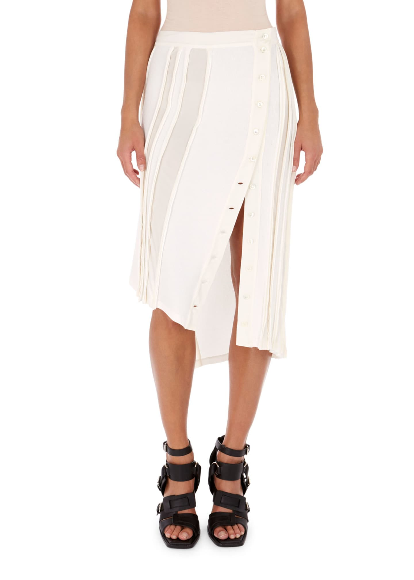 Atlein Sheer-Stripe Button Midi Skirt