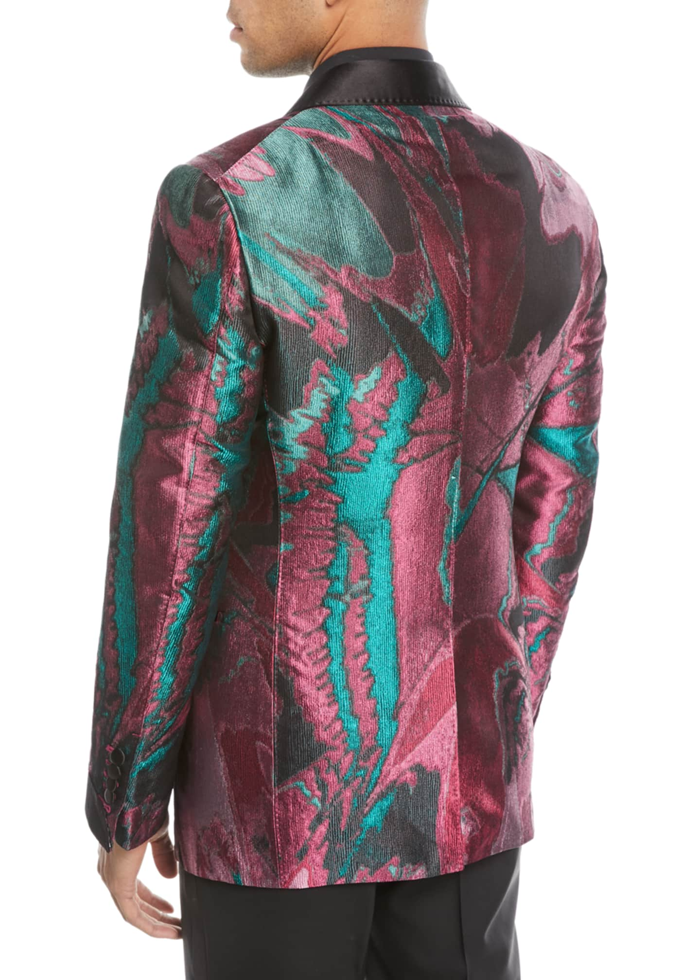 Image 2 of 2: Oil-Pattern Silk Dinner Jacket