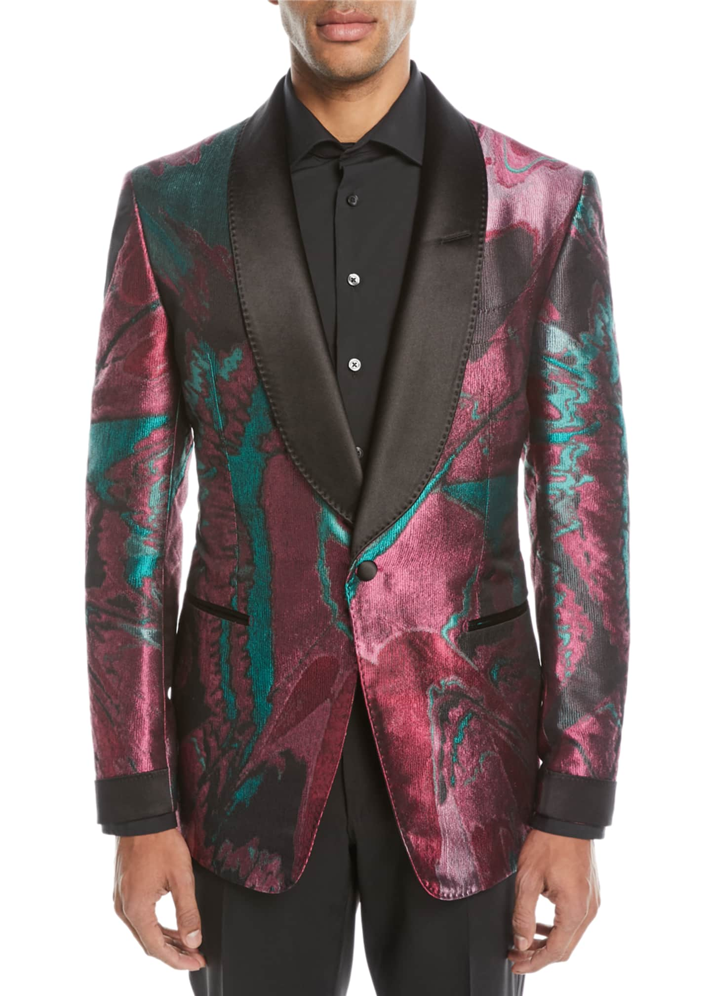 Image 1 of 2: Oil-Pattern Silk Dinner Jacket