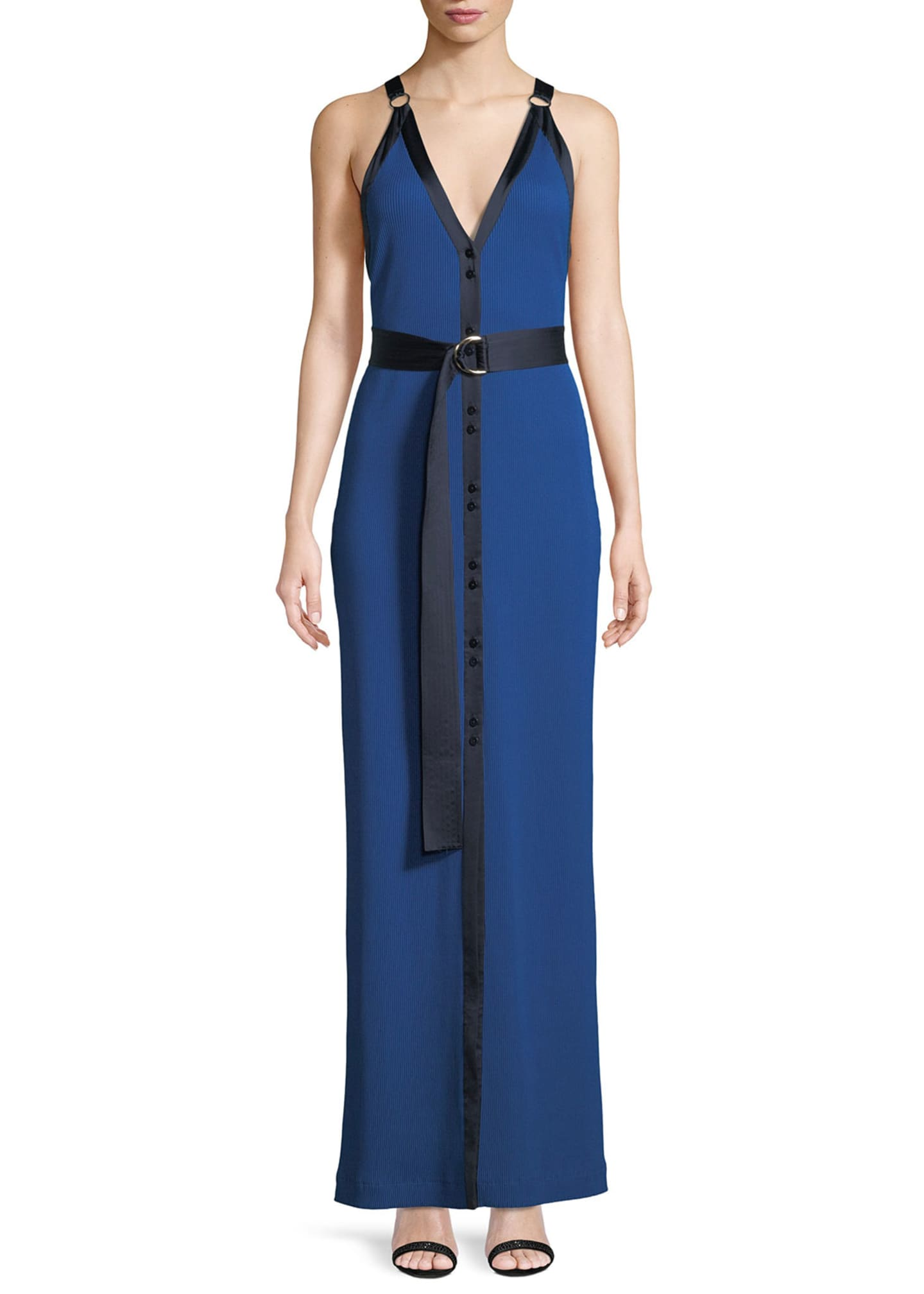 Diane von Furstenberg Sleeveless Ribbed Jersey Maxi Dress