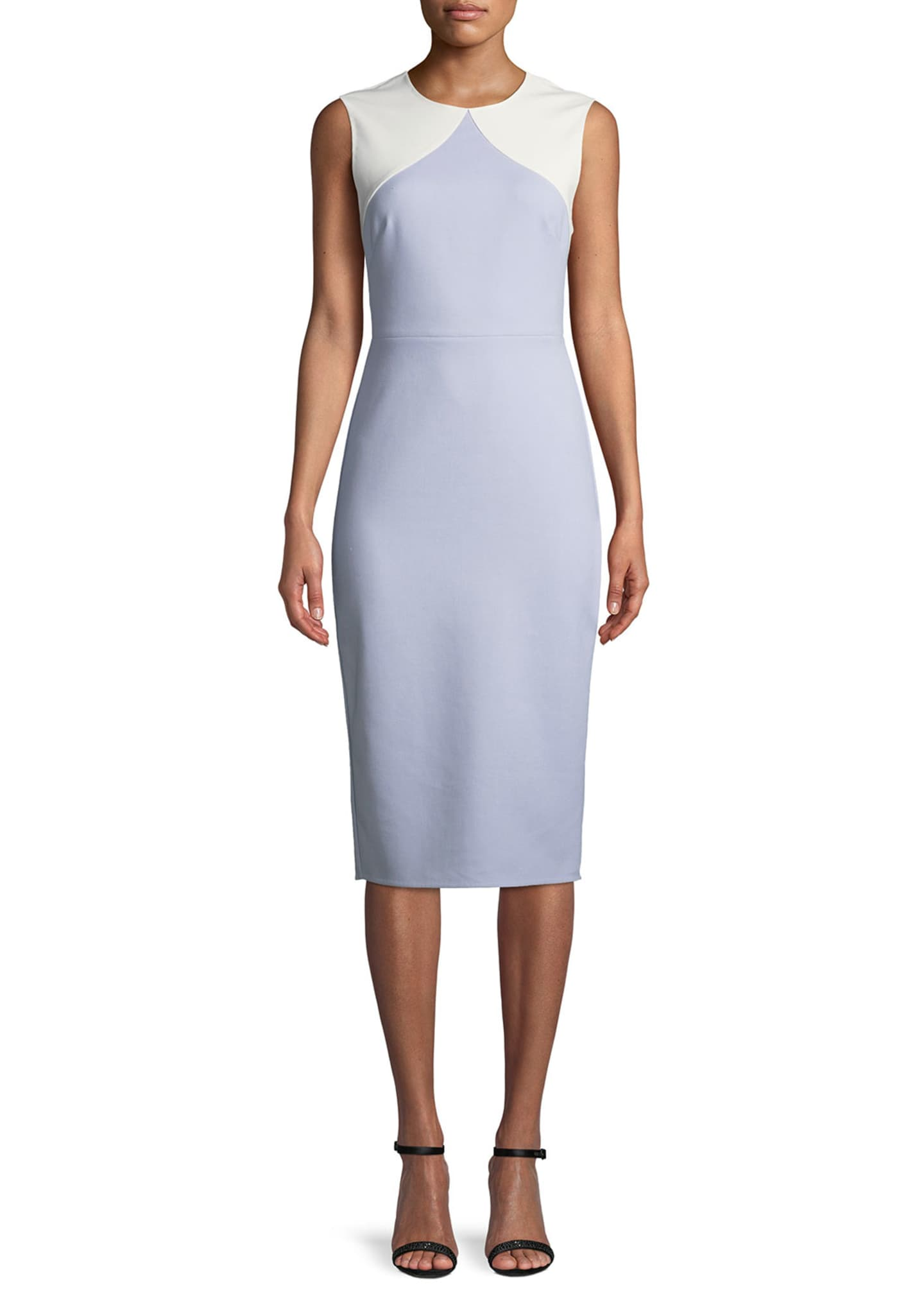Diane von Furstenberg Colorblock Sleeveless Body-Con Midi Sheath