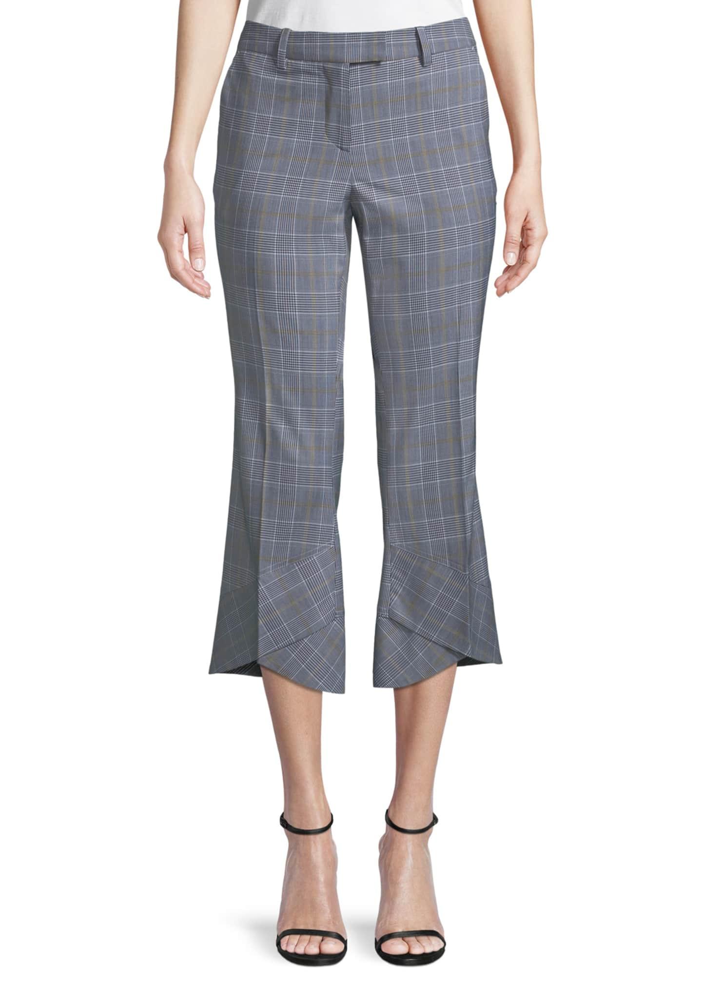 Robert Rodriguez Plaid Crop Flare-Hem Trousers