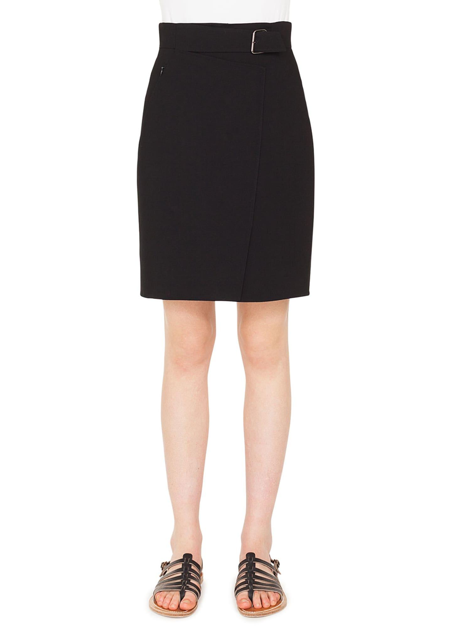 Akris A-Line Wool Crepe Mini Skirt