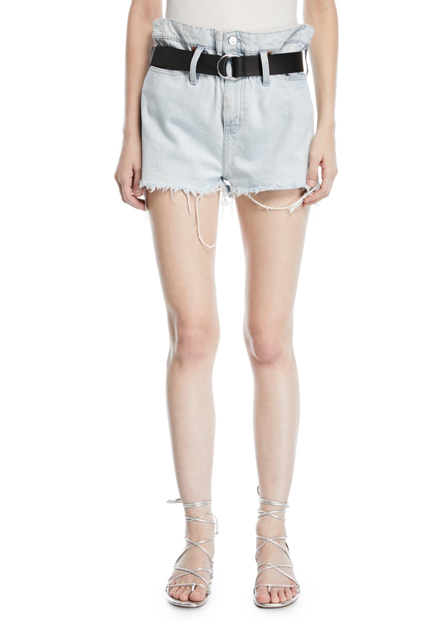 Iro Andel Paperbag-Waist Denim Shorts