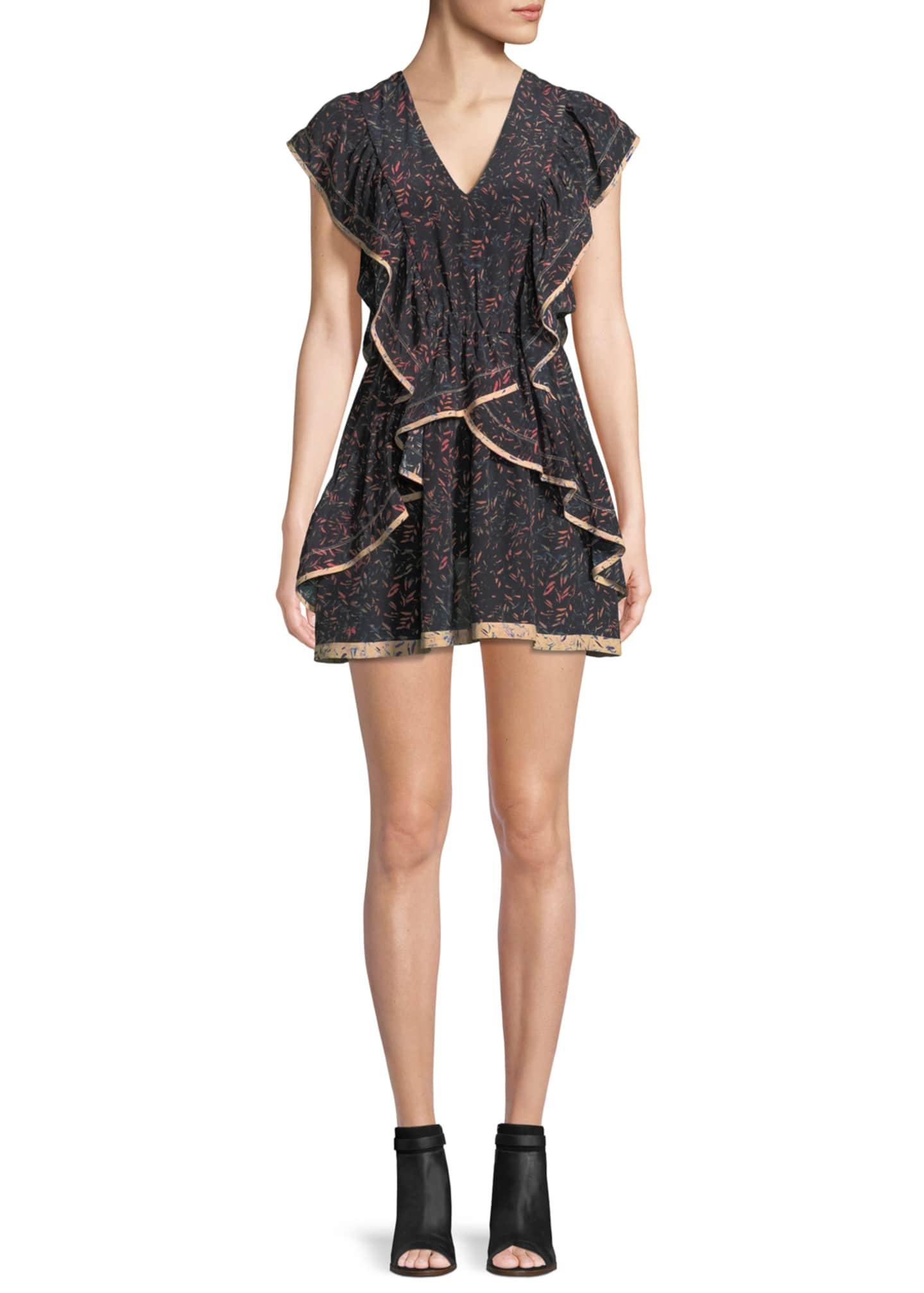 Iro Jicka V-Neck Printed Silk Dress with Ruffled
