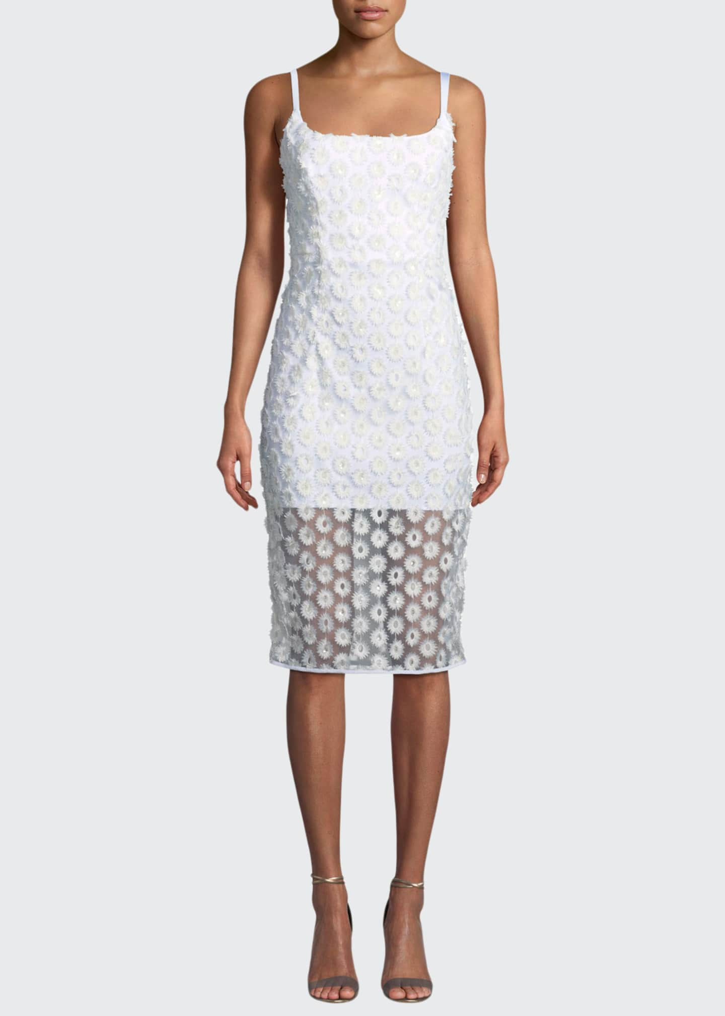 Milly Jessie Stretch Daisy Lace Sleeveless Cocktail Dress
