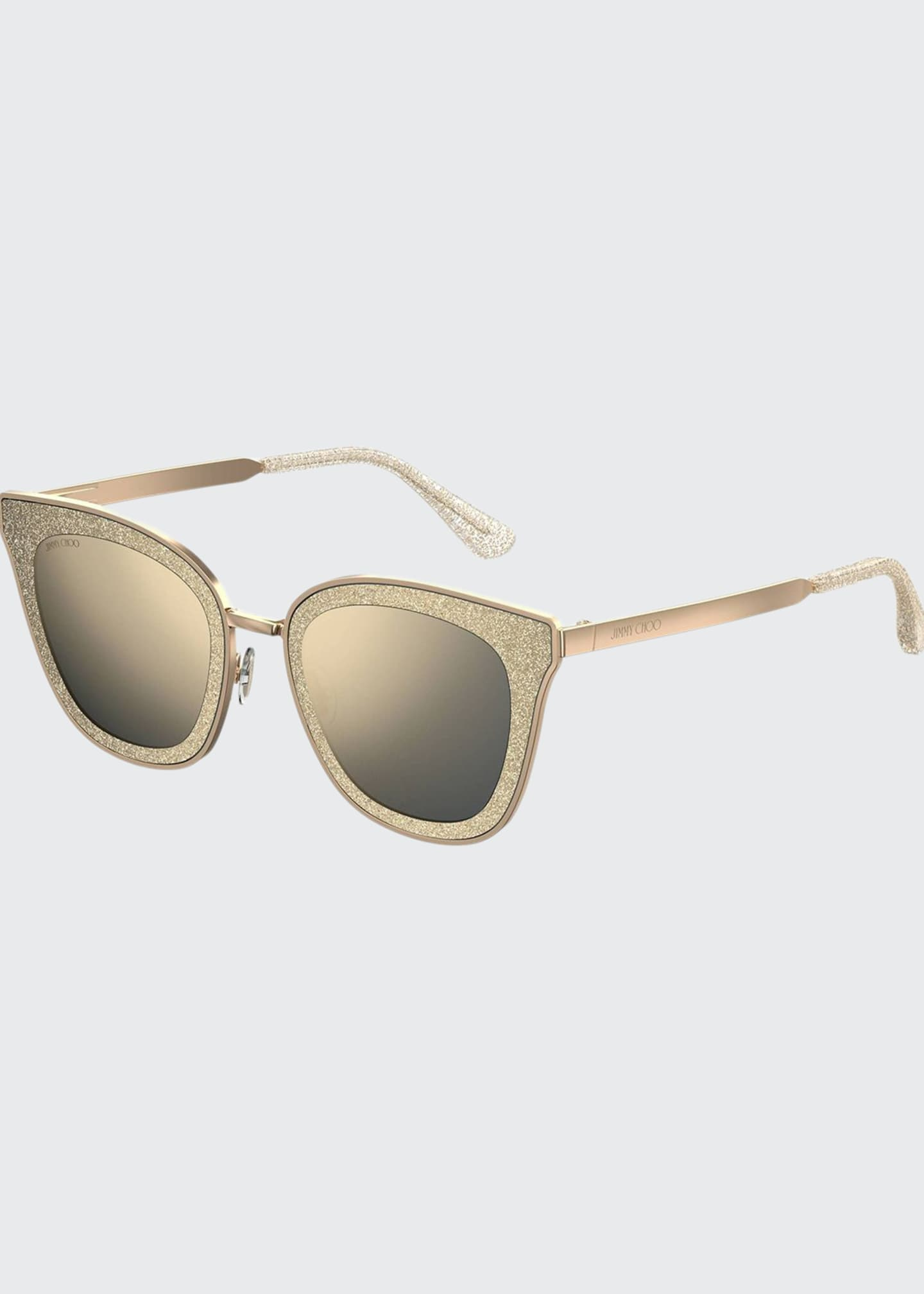 Jimmy Choo Lizzys Glittered Mirrored Cat-Eye Sunglasses