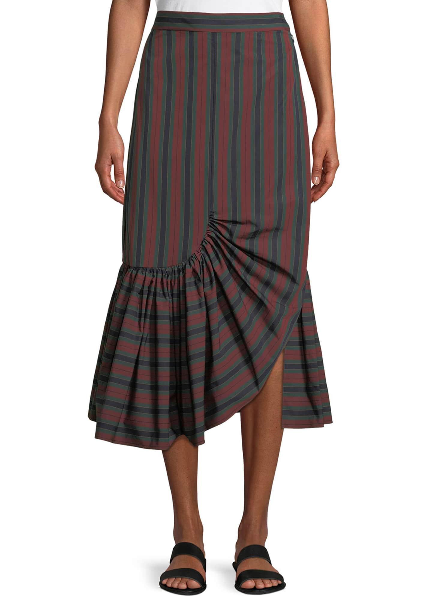 Rosetta Getty Barcode Stripe Ruffle-Hem Skirt