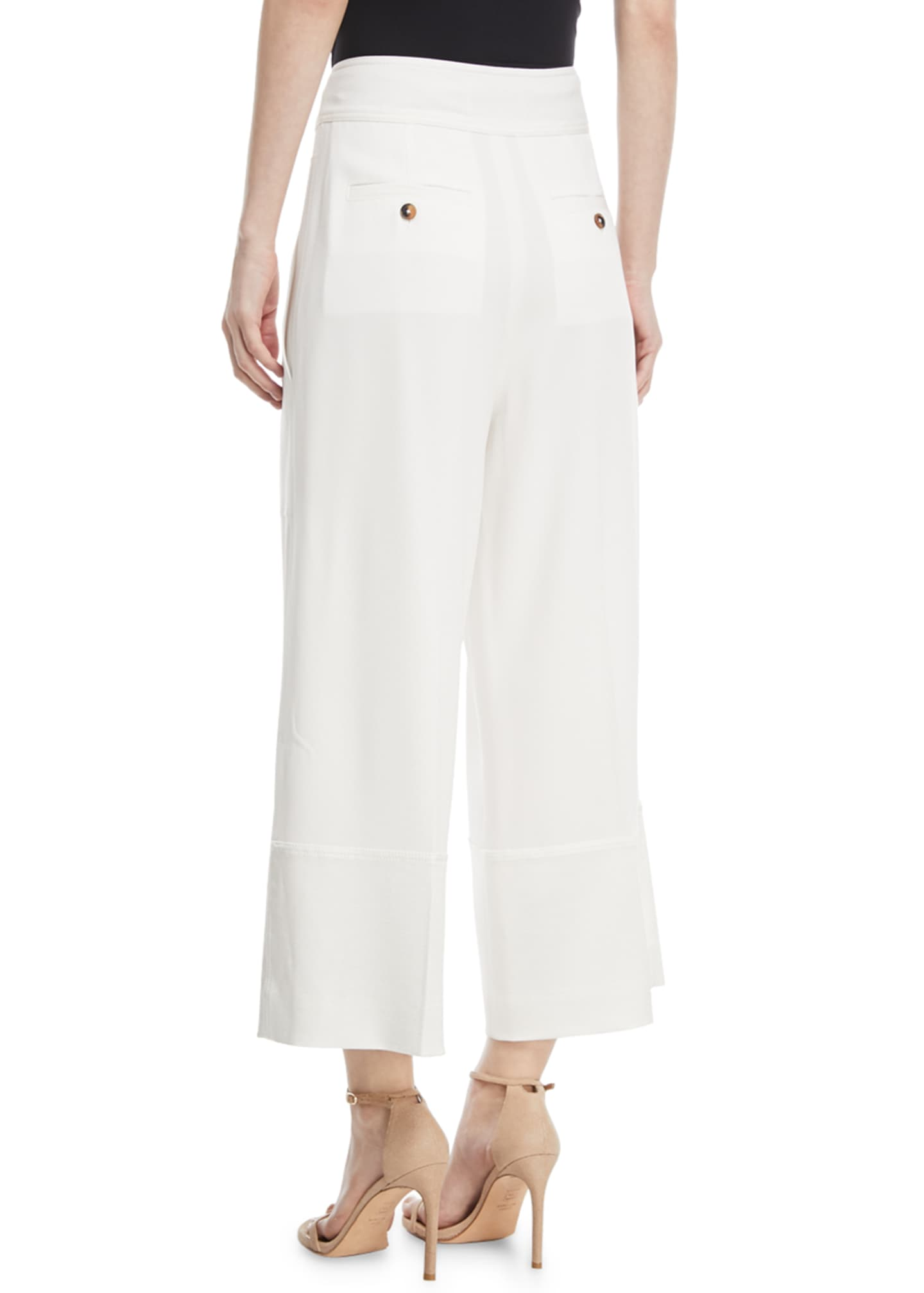 Image 2 of 2: Wide-Leg Cropped Crepe Pants