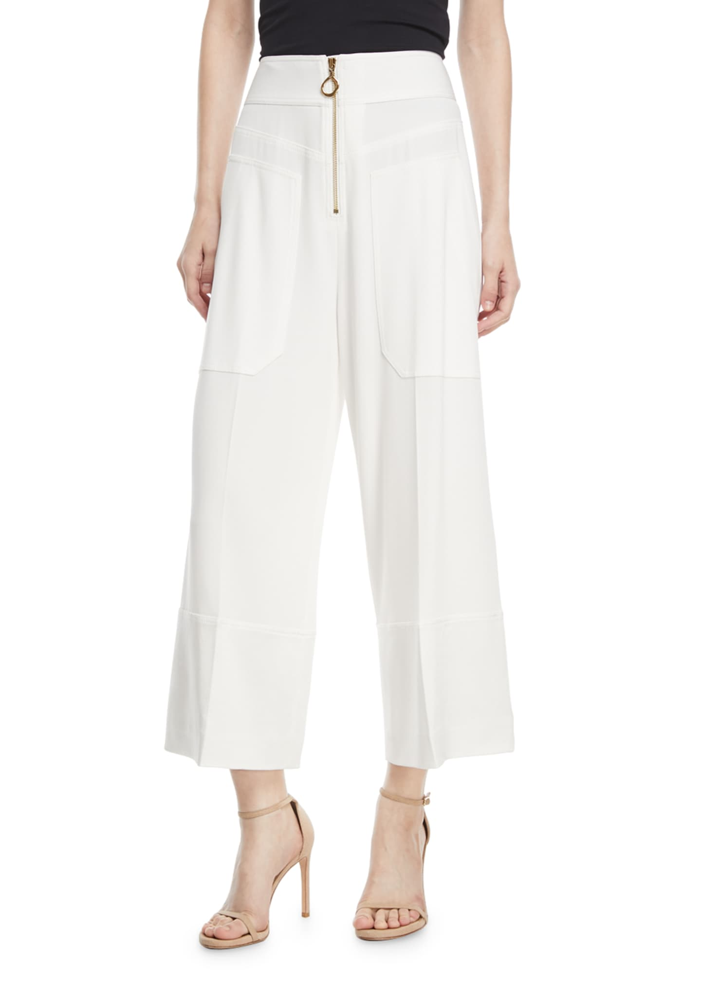 Image 1 of 2: Wide-Leg Cropped Crepe Pants