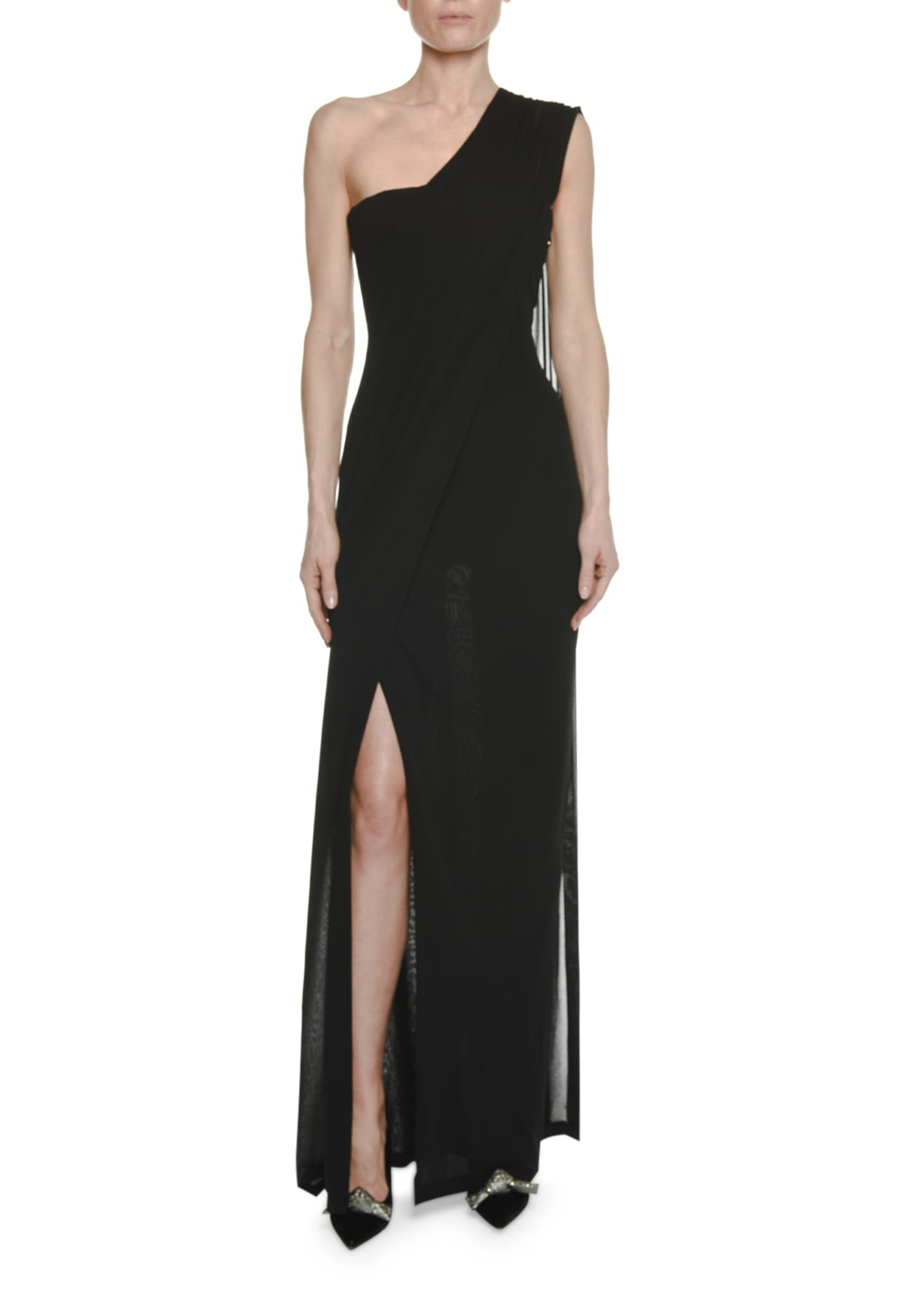 TOM FORD One-Shoulder Bustier Gown with Scarf Detail
