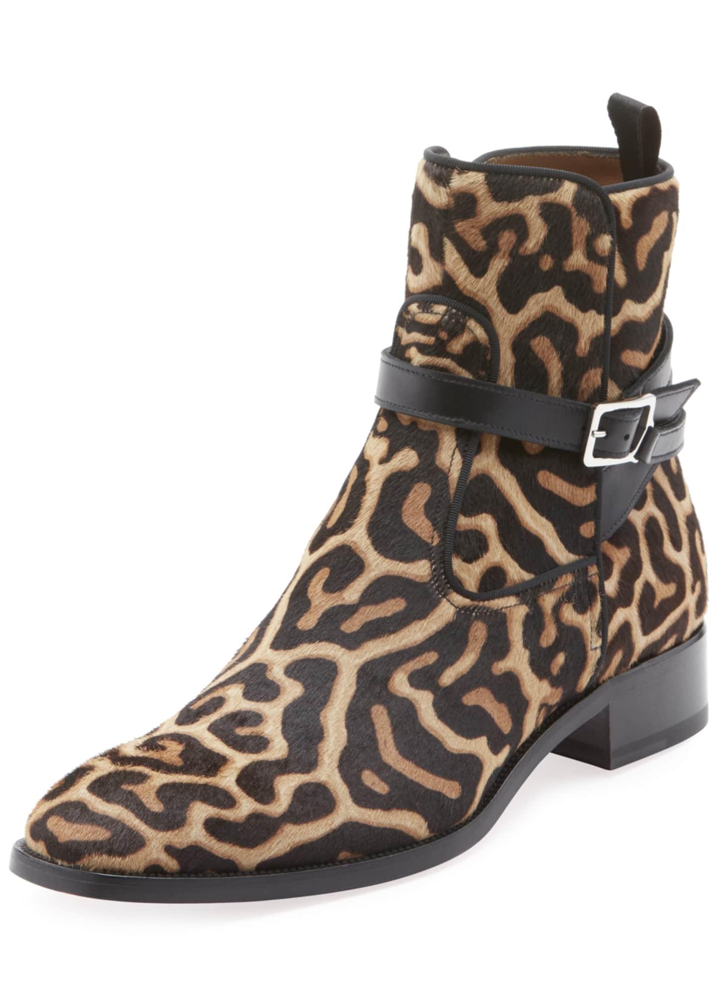 Christian Louboutin Men's Kicko High-Top Leopard-Print Pony Hair
