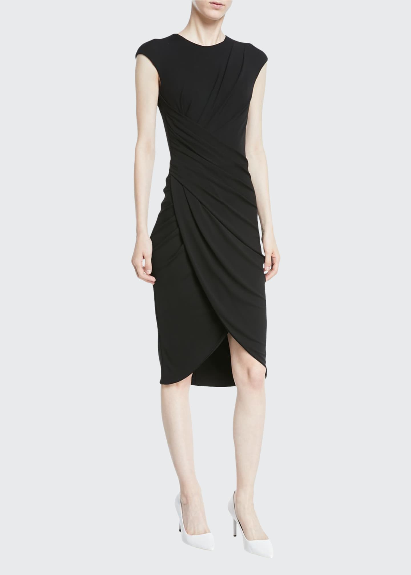 Michael Kors Collection Cap-Sleeve Ruched Stretch Matte Jersey