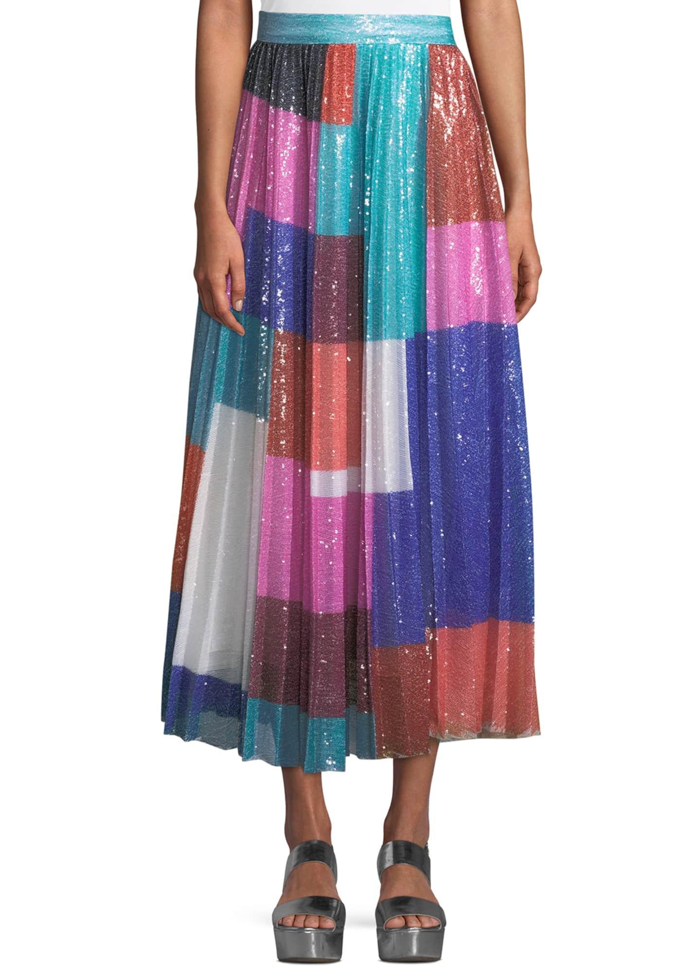 Mary Katrantzou High-Waist Colorblocked Sequin Pleated Midi Skirt