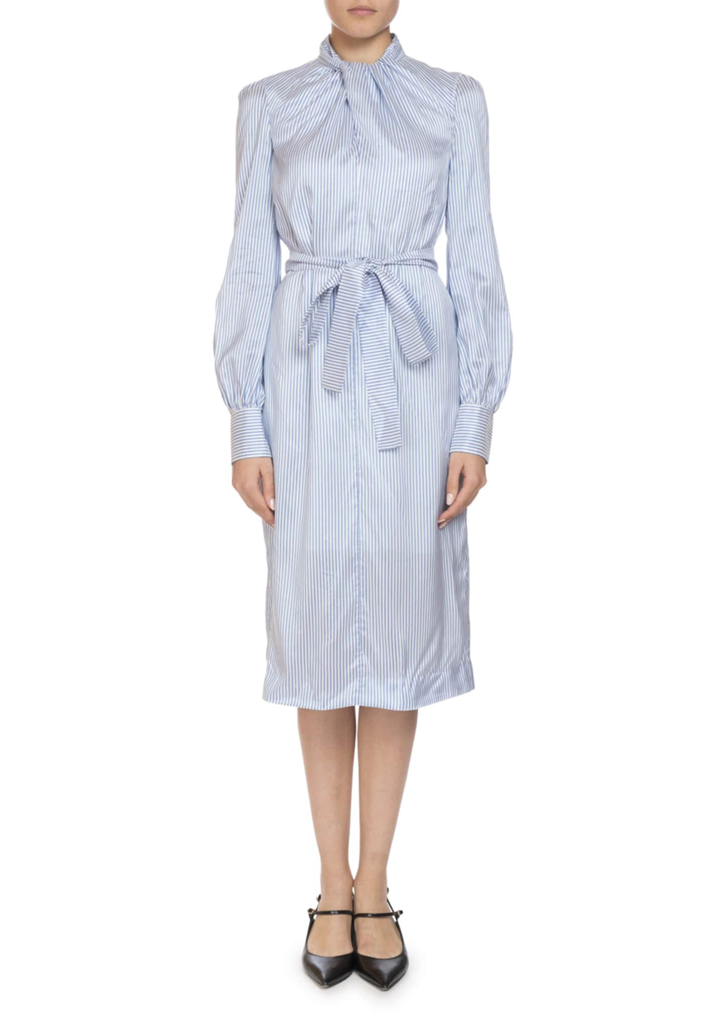 Erdem Amelia Twist-Neck Long-Sleeve Striped Silk Midi Shirtdress