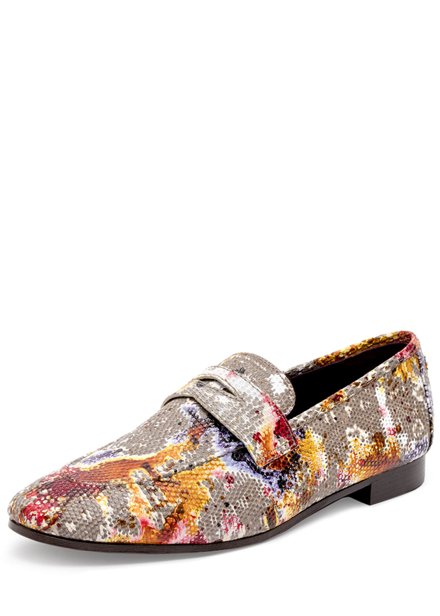 Bougeotte Flaneur Watercolor Lizard Flat Loafers