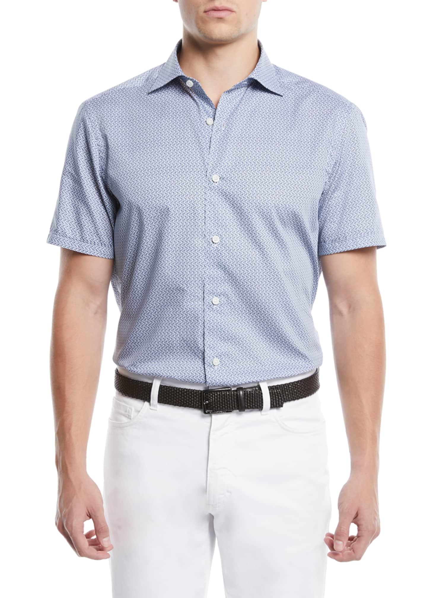 Ermenegildo Zegna Men's Medium-Check Short-Sleeve Sport Shirt
