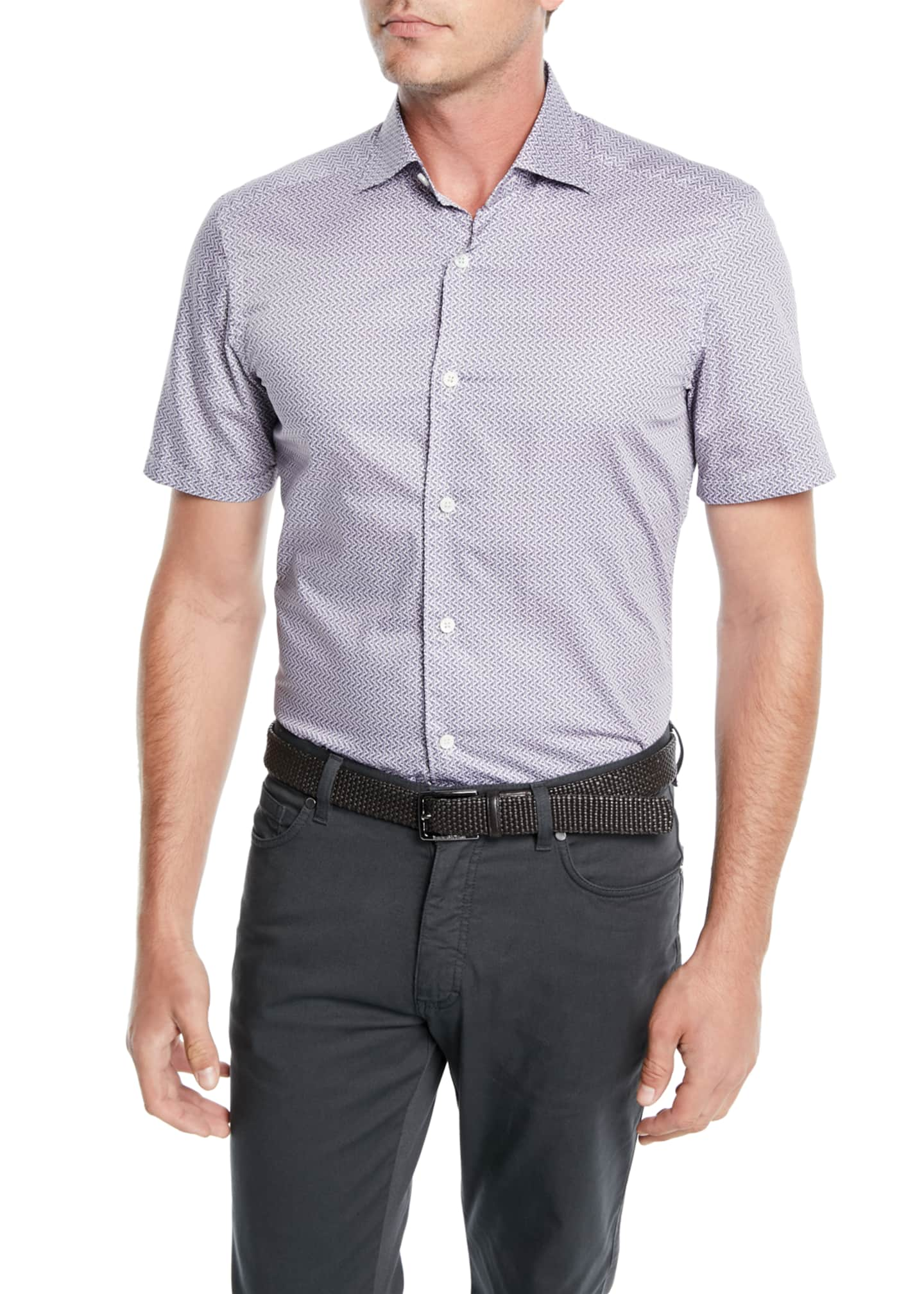 Image 1 of 2: Men's Woven Micro-Print Cotton Shirt