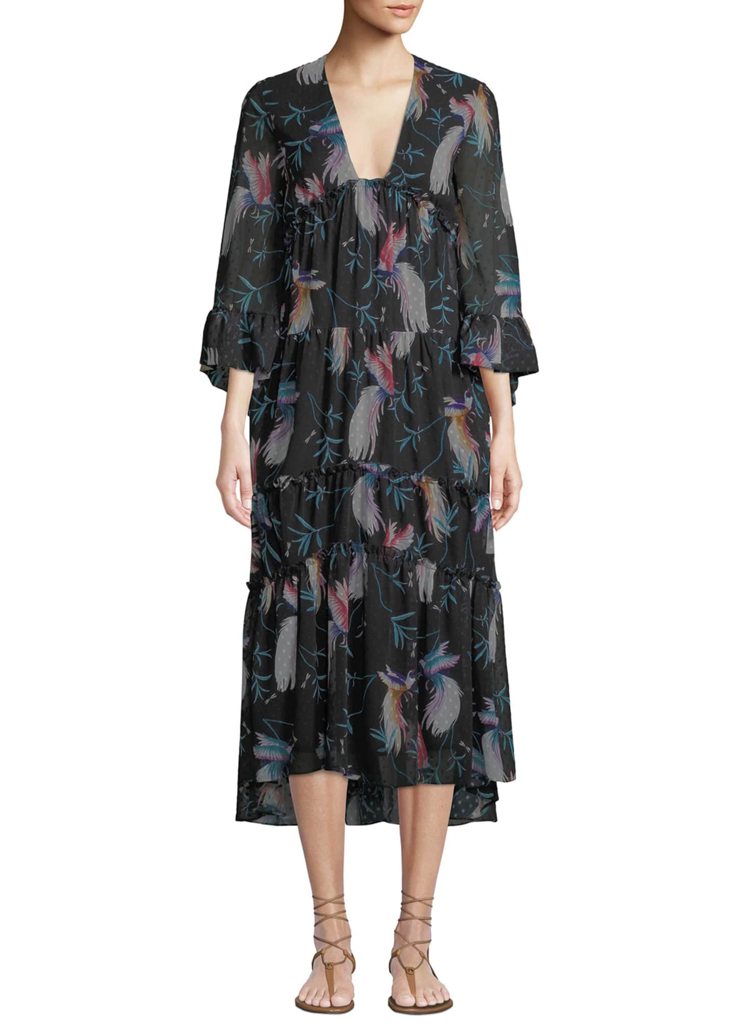Borgo de Nor V-Neck 3/4-Sleeve Bird-Print Tiered Midi
