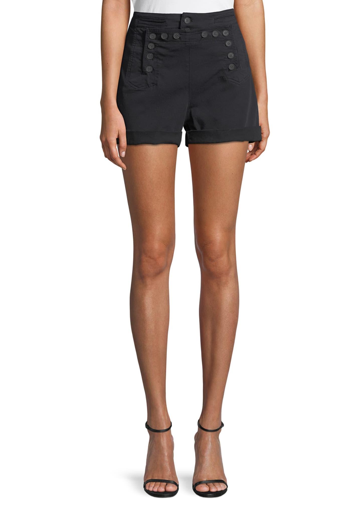 A.L.C. Pierce Sailor Button High-Waist Shorts