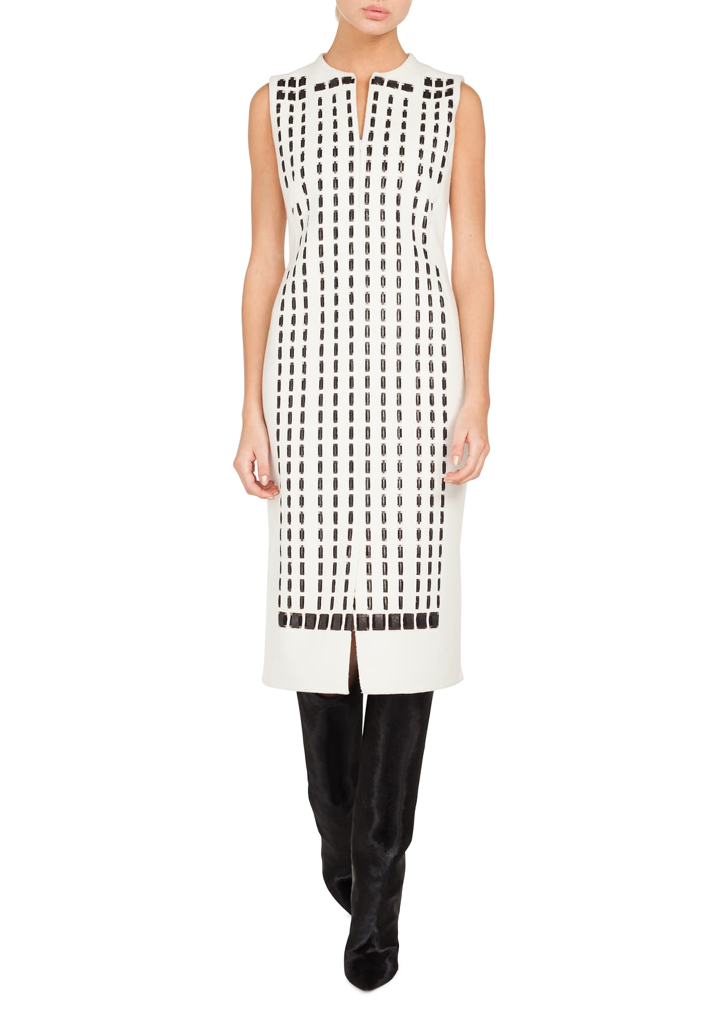 Akris Sleeveless Front-Zip Hotel-Facade Embroidered Sheath Dress