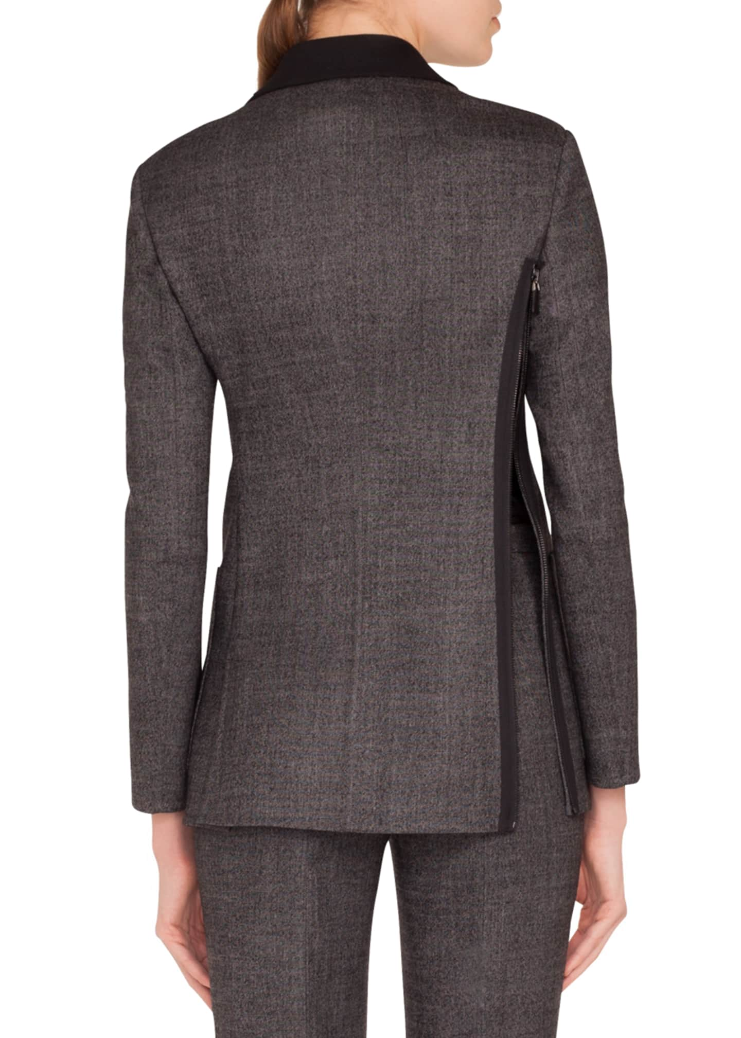 Image 2 of 3: Sean Zip-Front Stretch-Wool Tweed Jacket w/ Patch Pockets