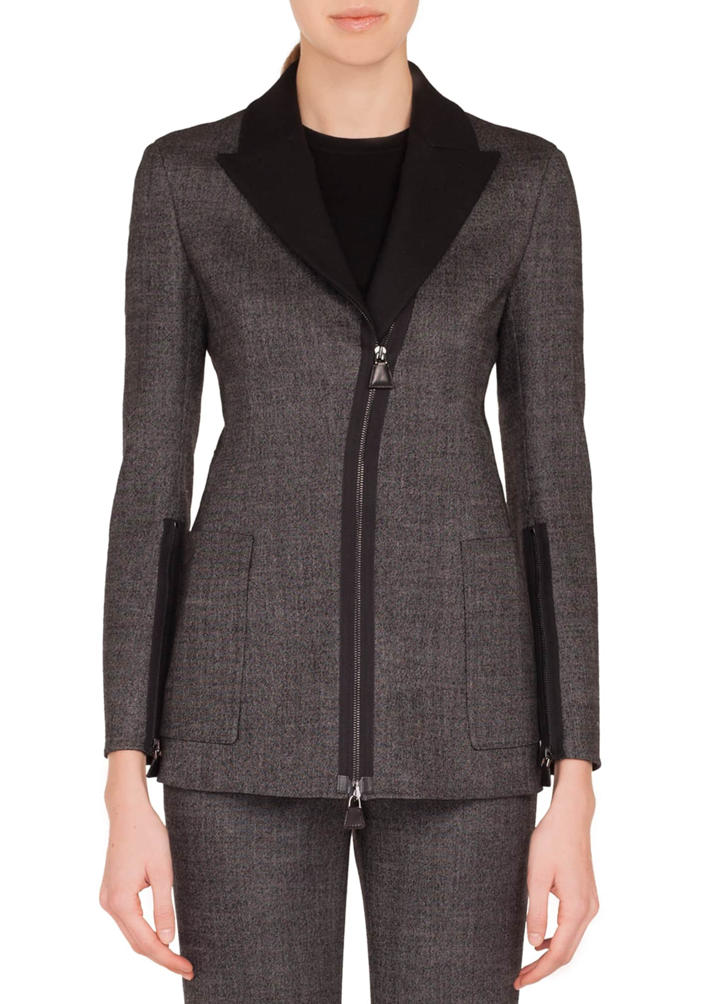 Image 3 of 3: Sean Zip-Front Stretch-Wool Tweed Jacket w/ Patch Pockets