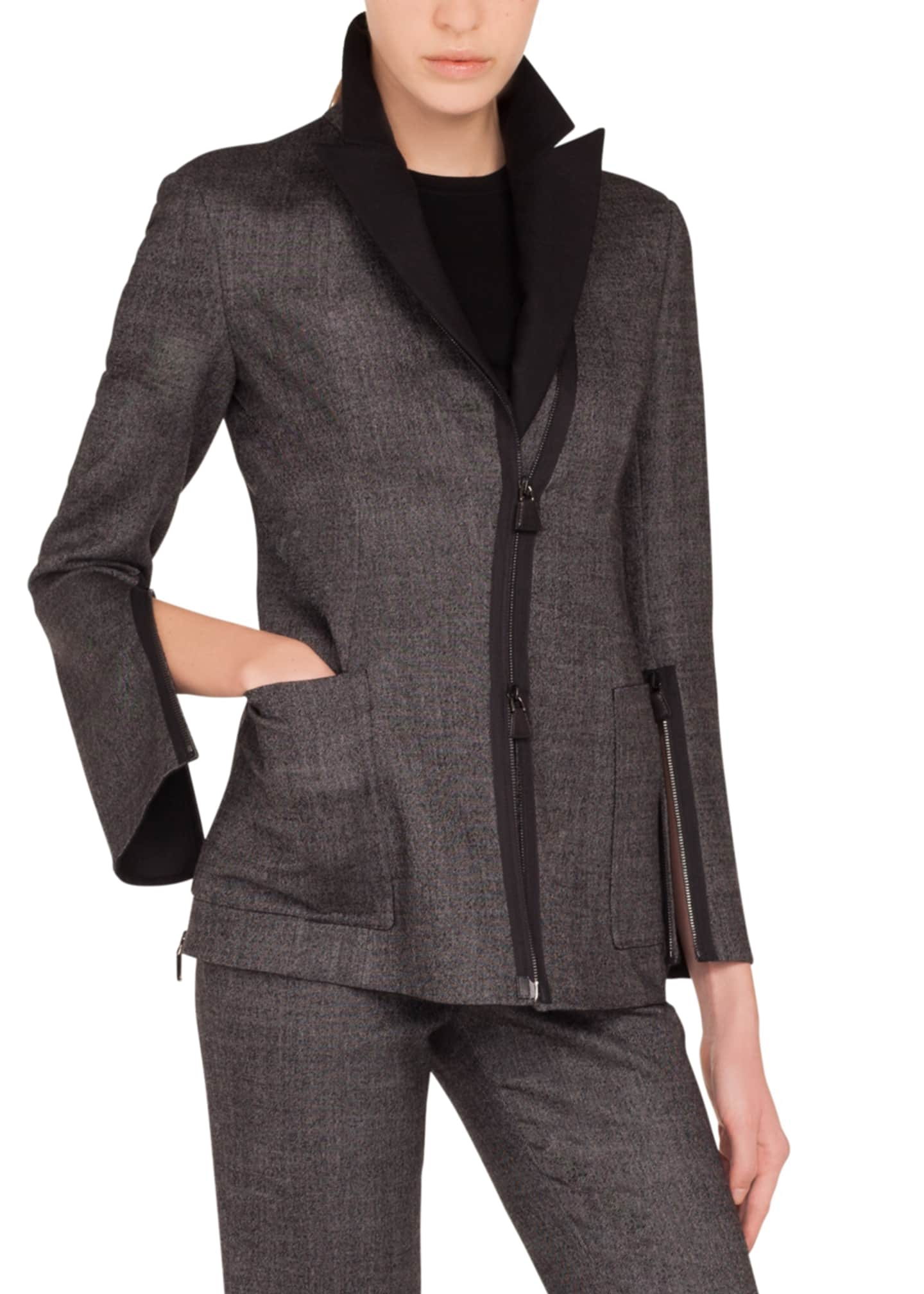Akris Sean Zip-Front Stretch-Wool Tweed Jacket w/ Patch