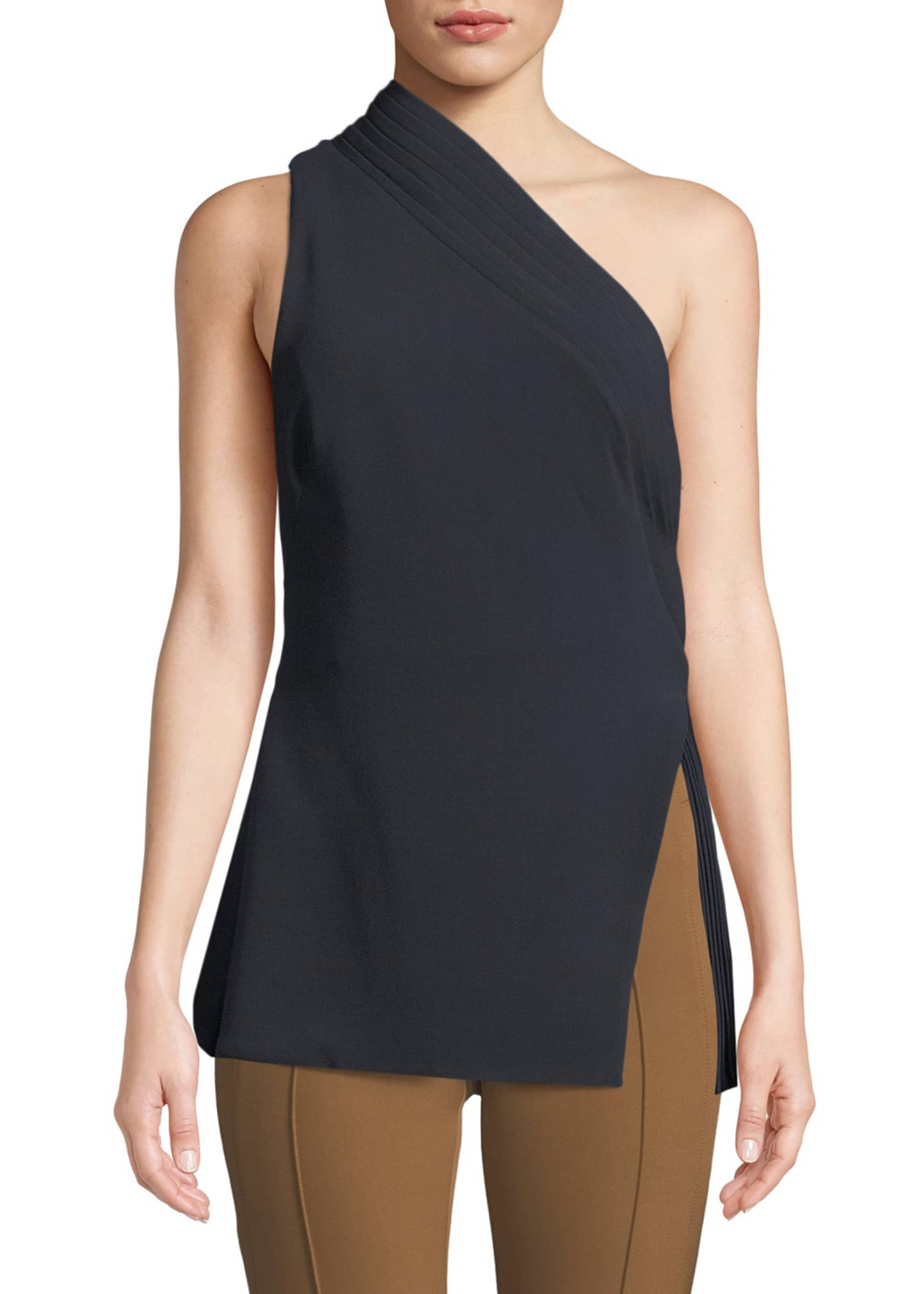 Brandon Maxwell One-Shoulder Crepe Top