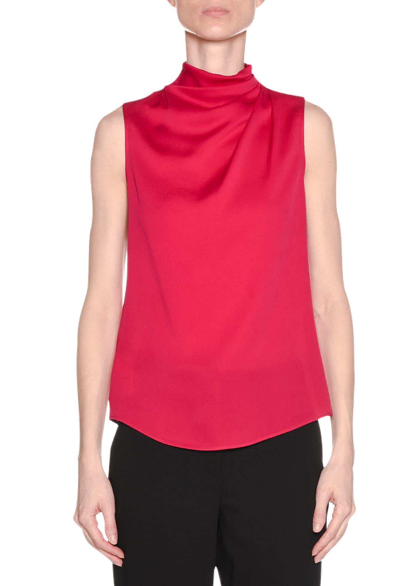 Giorgio Armani Ruched-Neck Sleeveless Silk Shell Top