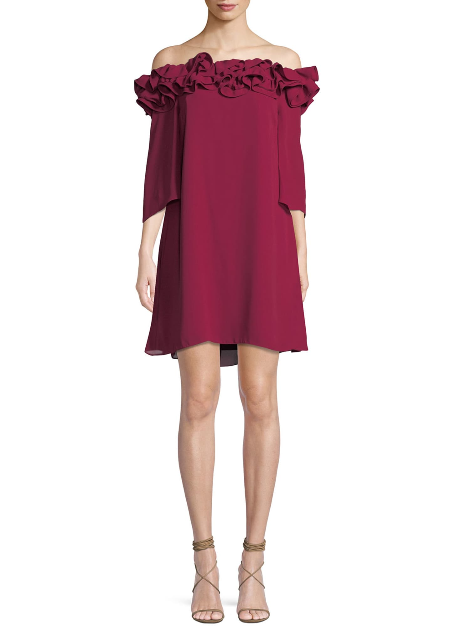 Halston Heritage Flowy Mini Dress w/ Ruffle Trim